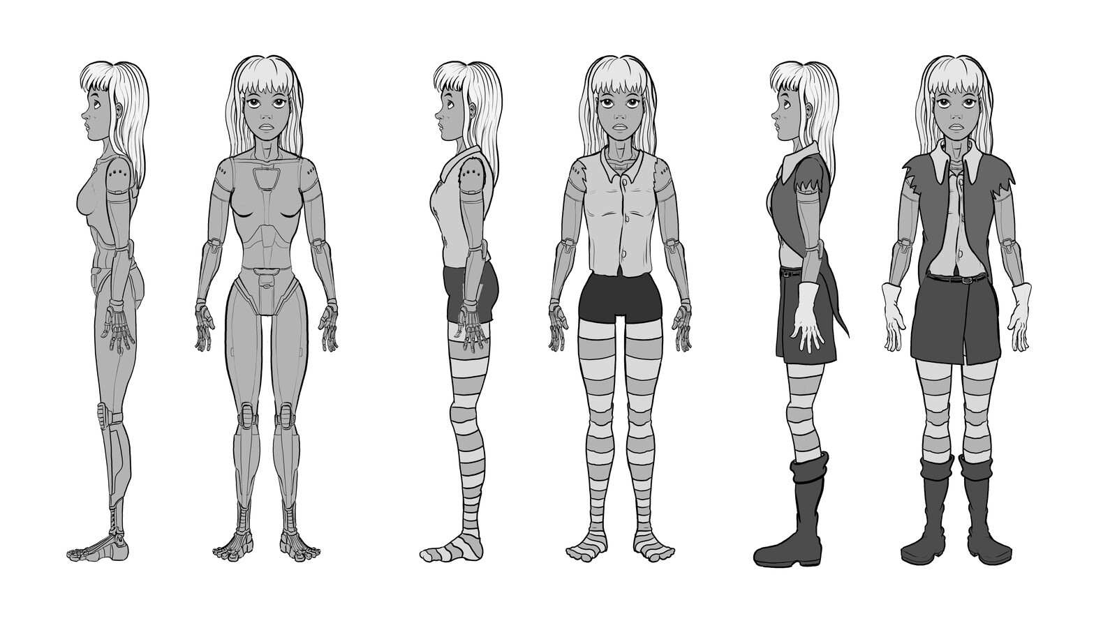 Lili - modeling reference drawings I created for myself. Since player was supposed to select custom clothing for the character, I had to design it with all the cloth layers.