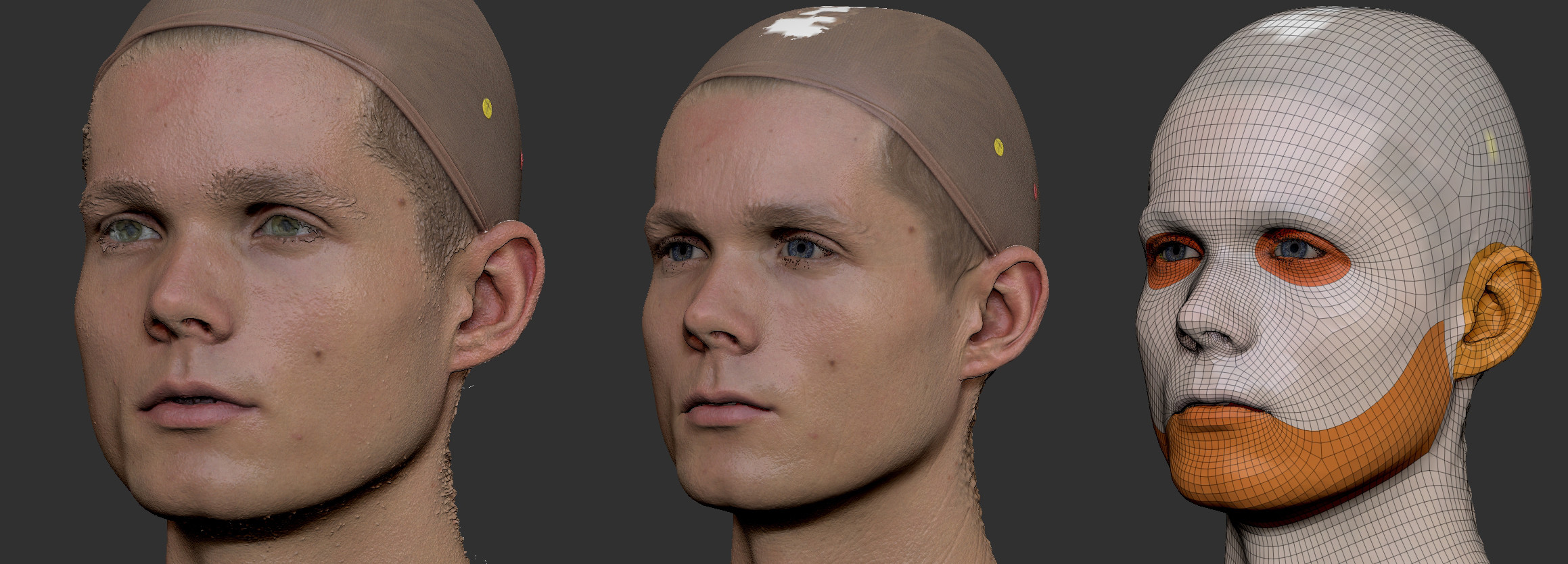 Head was a photogrammetry project from a series of pictures acquired from 3DScanStore. Pictures were processed in Metashape, cleaned up in Zbrush and adjusted to fit a general face topology