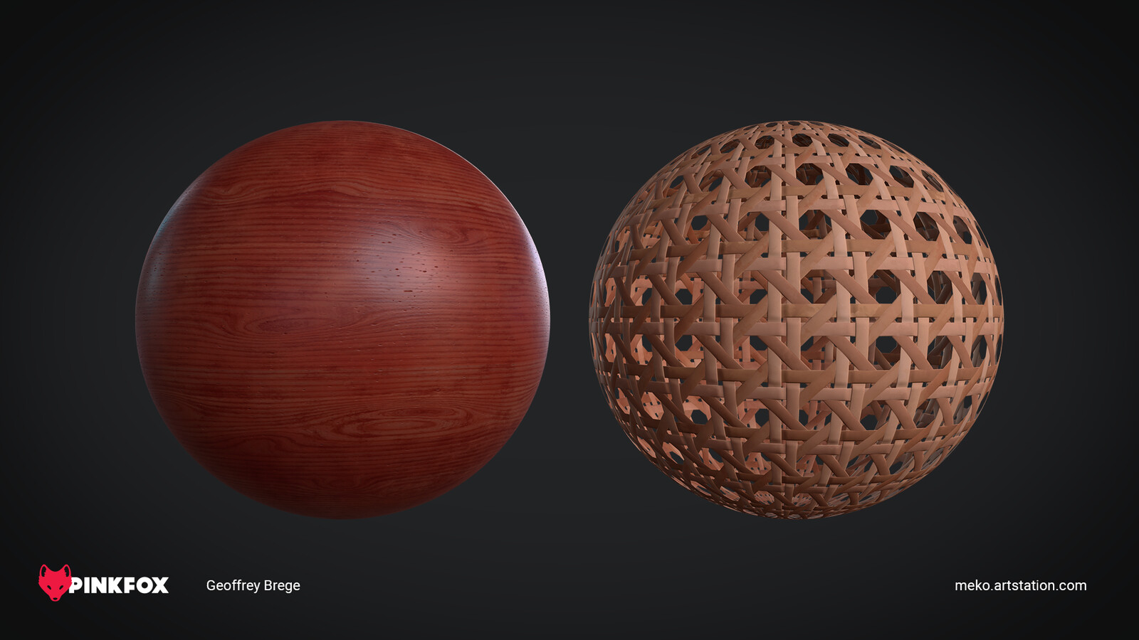 Mahogany and Wicker Weave Materials made in Substance Designer