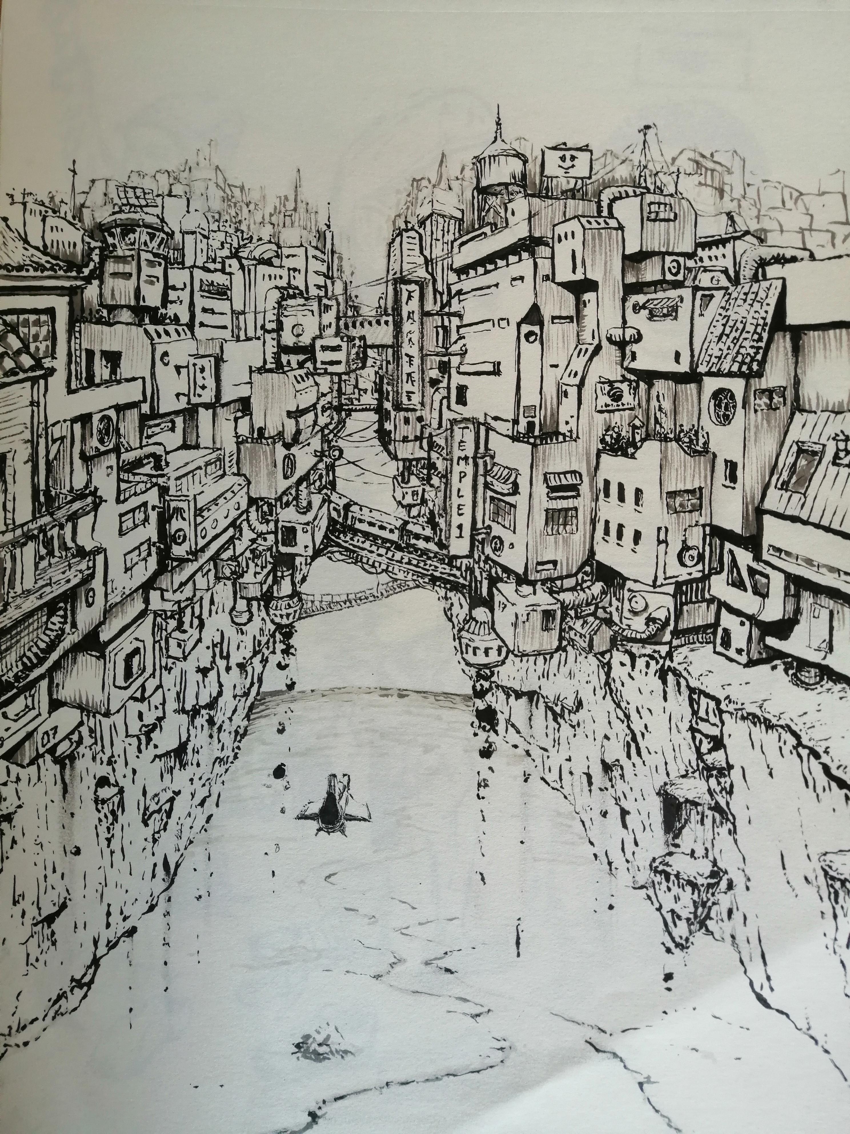 Initial ink sketch