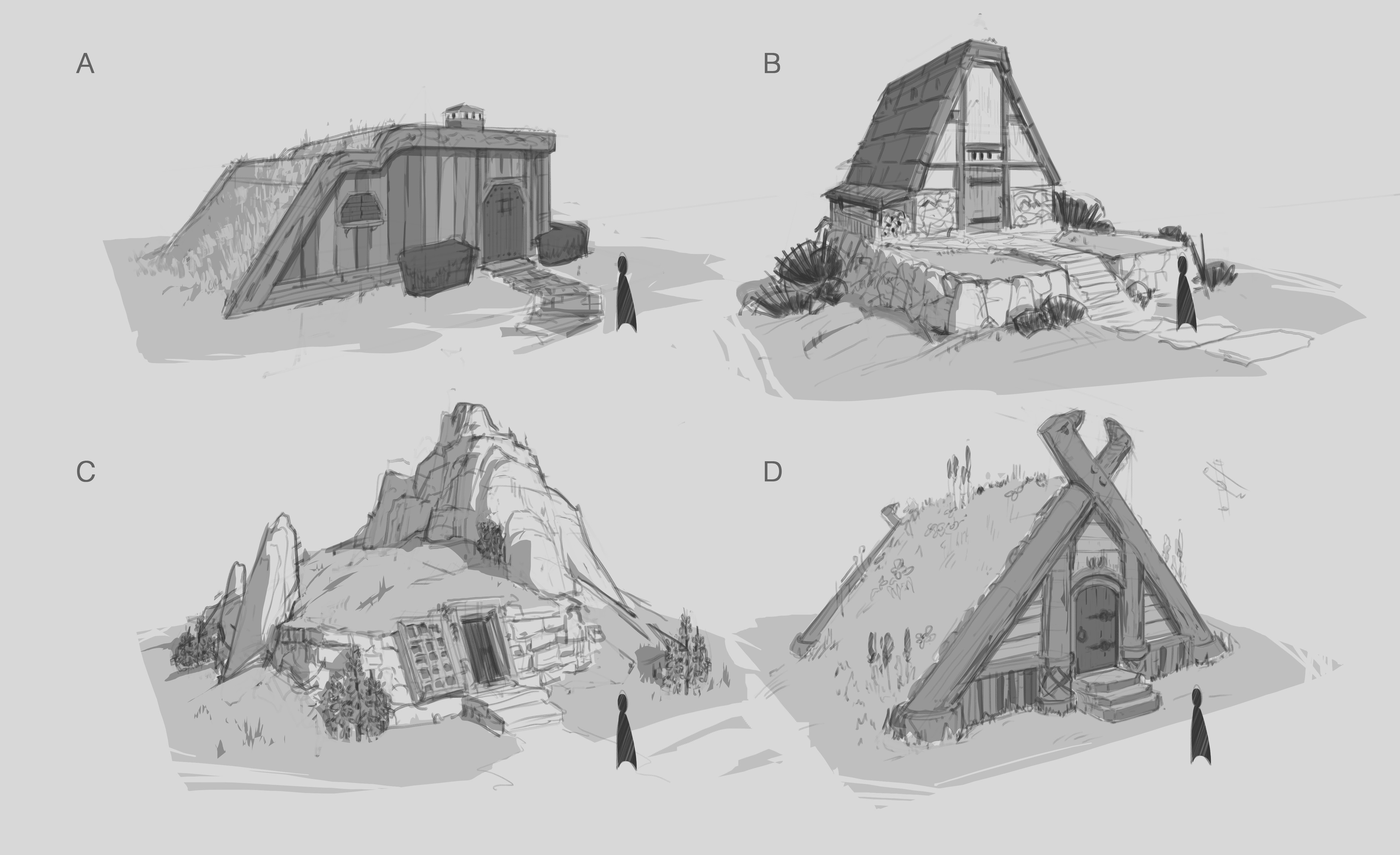 Early Sketches exploring architecture styles.