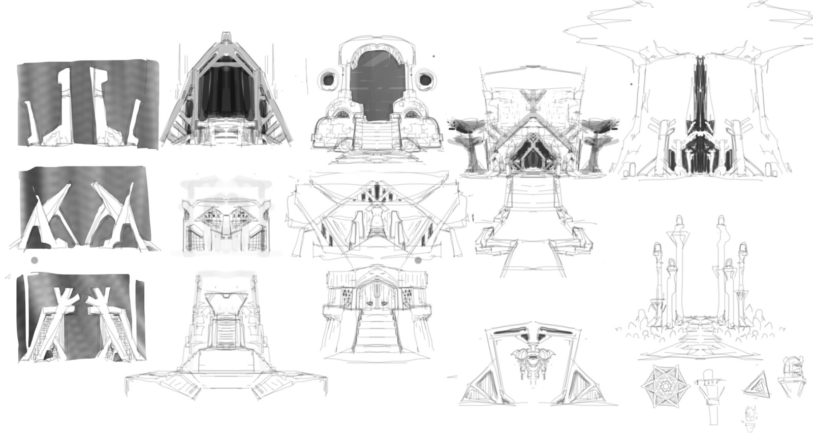 Early Sketches exploring the look and arrangement of objects around the entrance.