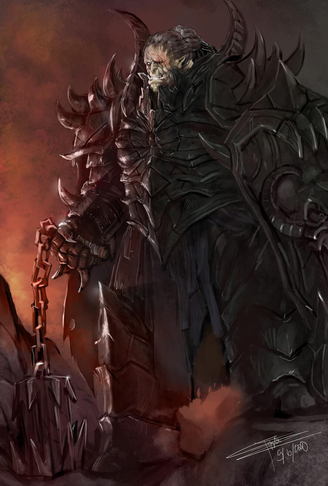 Half Orc Hellknight Helmless