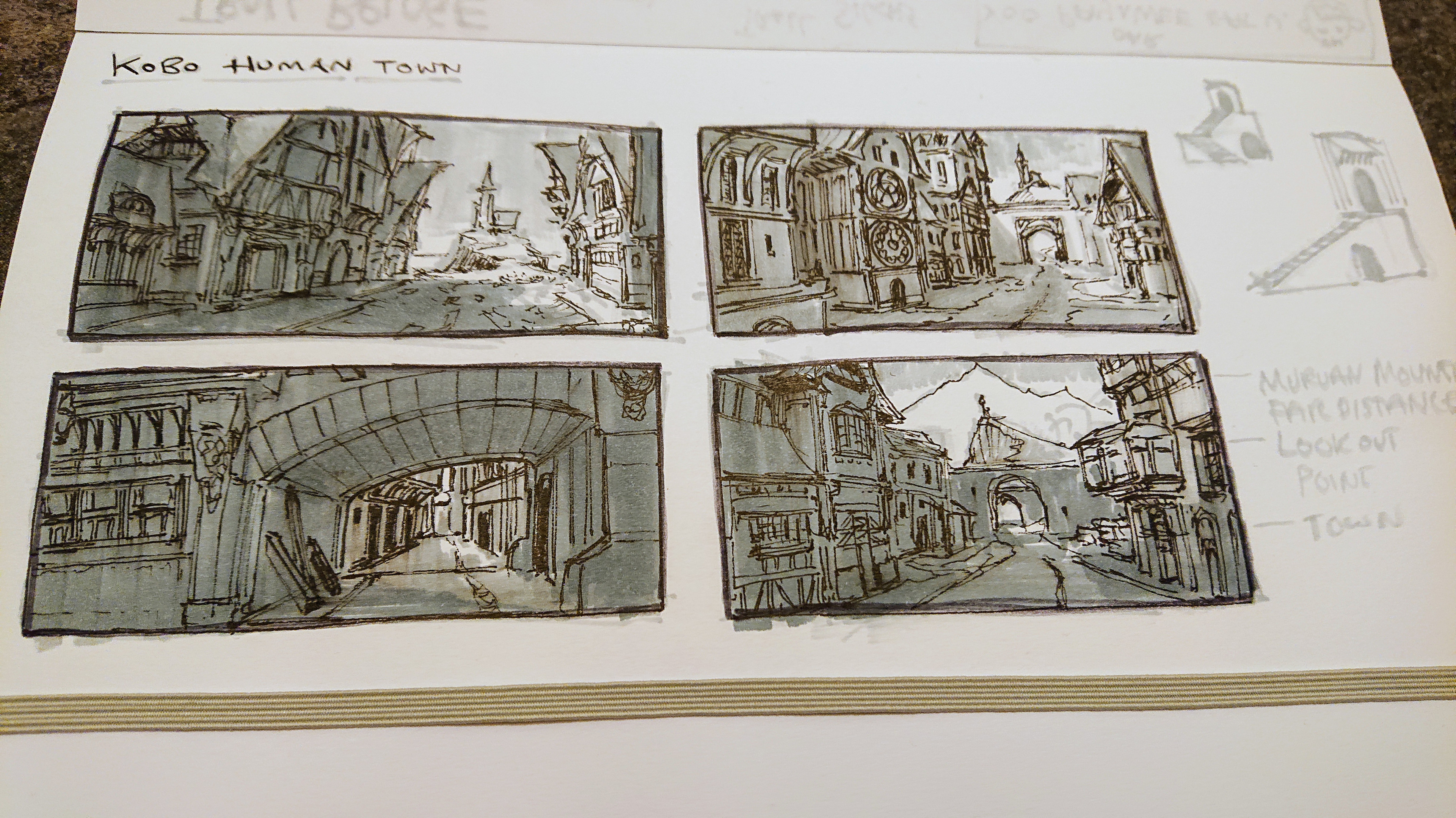 Initial marker sketches for rough idea.
