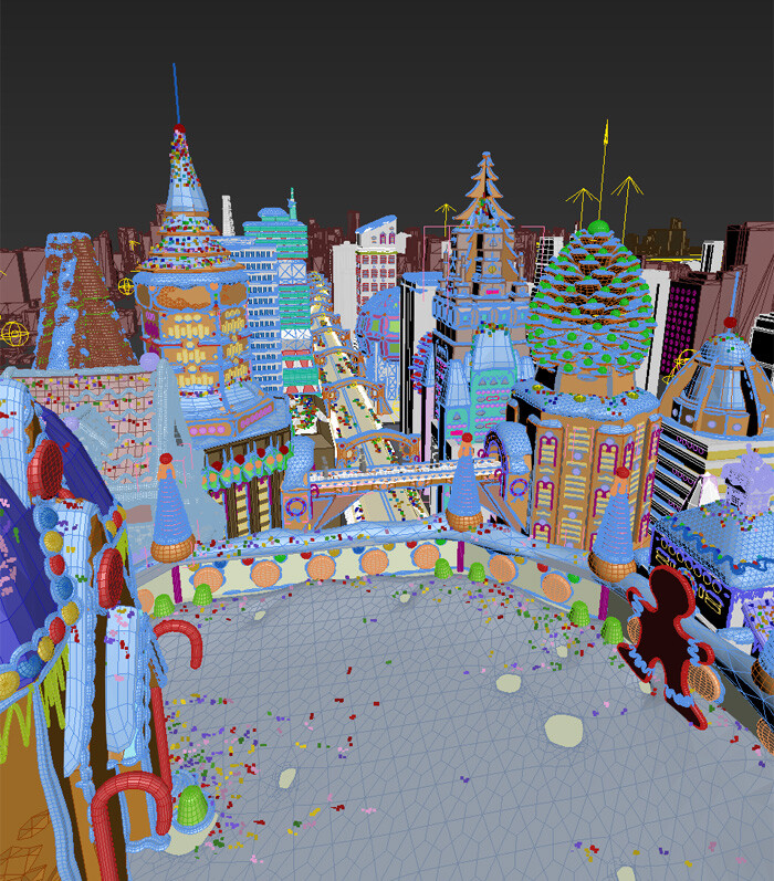 Sprinkles were done in Multiscatter plugin, and icing with PolyDetail and PolySnow plugins.