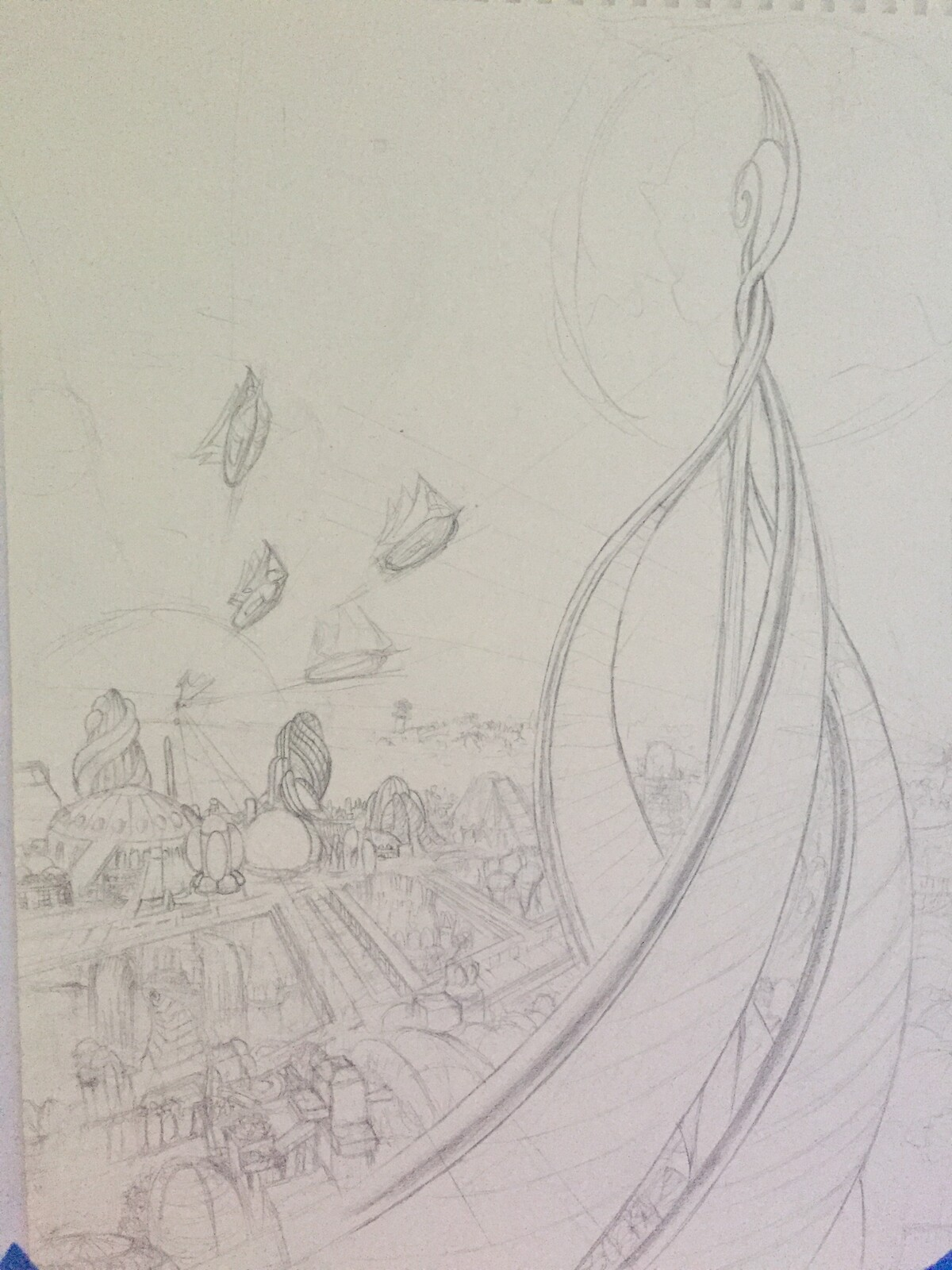 Early sketching, used a lot of grids and perspective lines to make this look believable.