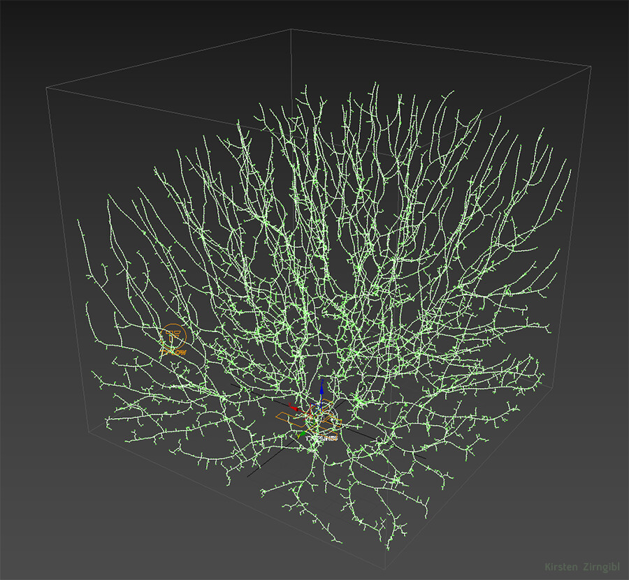 Particle-based space filling growth in TyFlow, a new VFX plugin in 3DS Max.