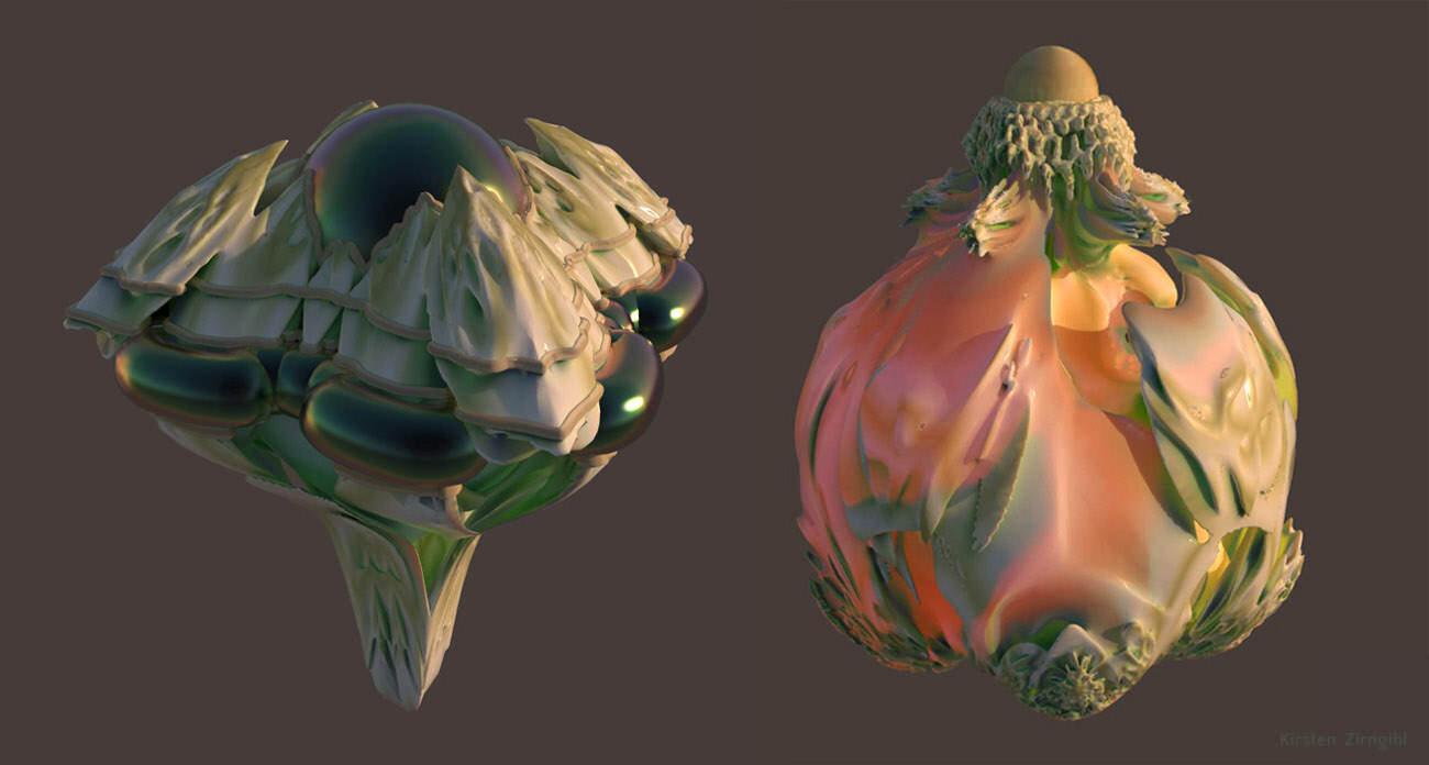 Playing with new fractal shapes and subsurface scattering.