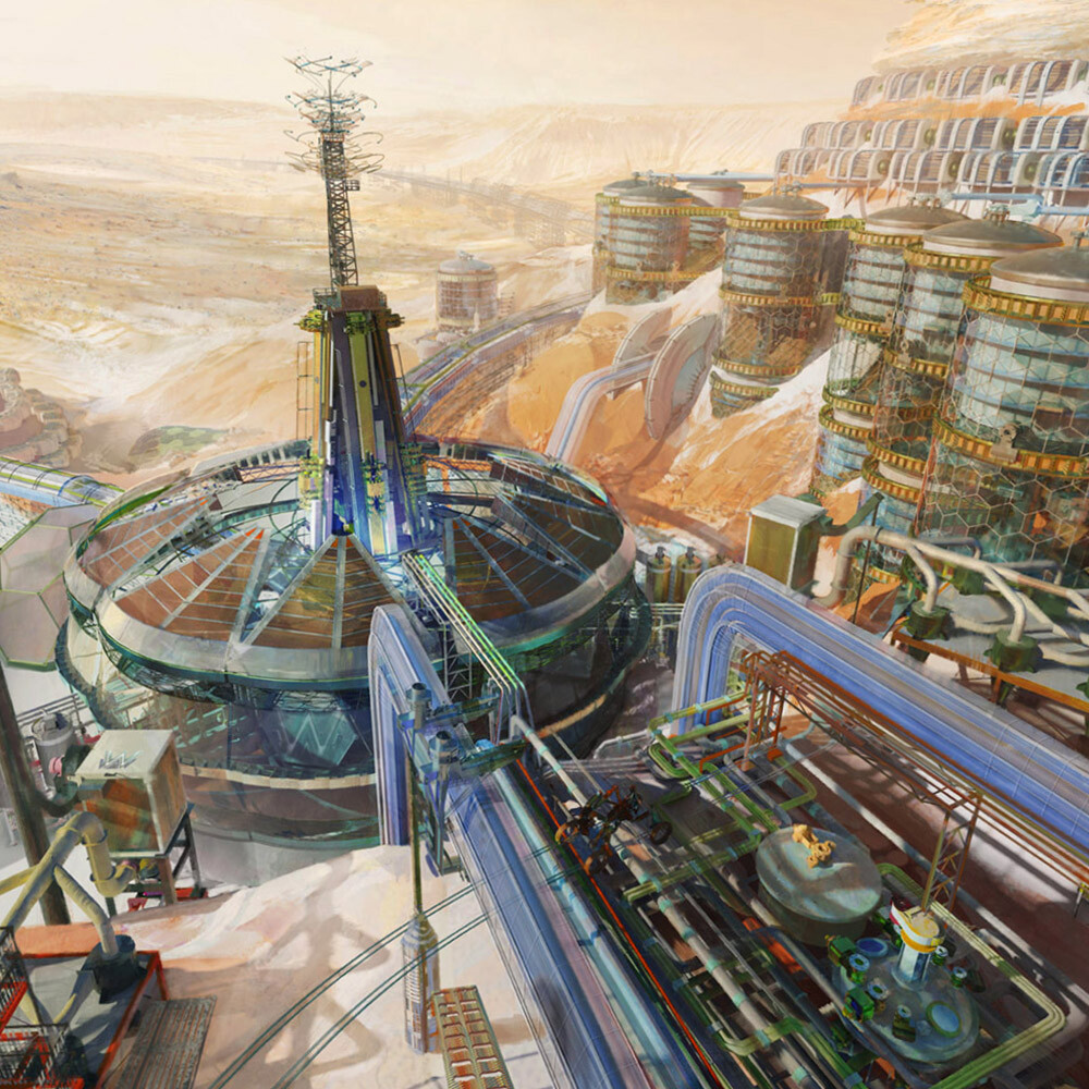 An ice mining/purification plant on Mars, done for the Netrunner universe.  (2014)