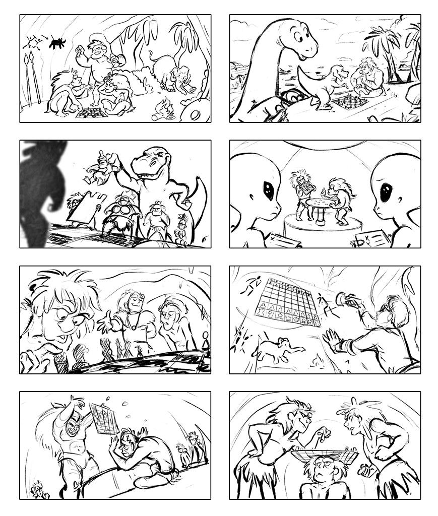 Caveman playing chess thumbnails