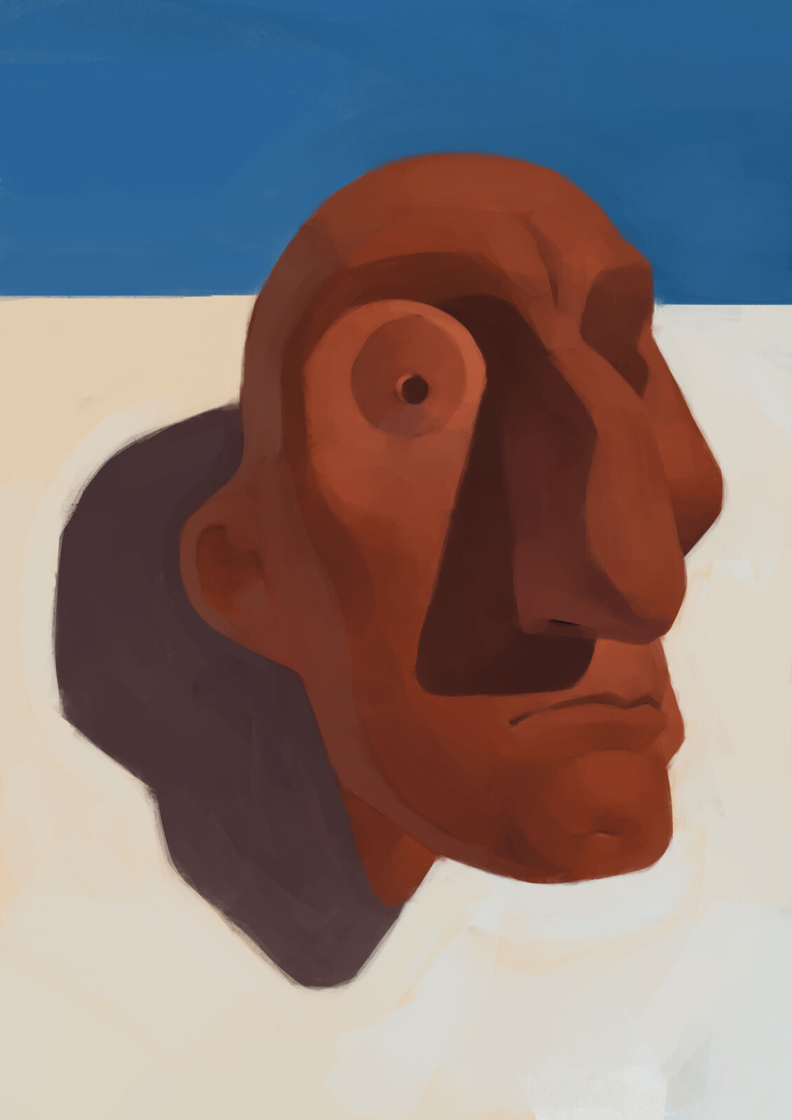 Terracotta clay head sculpt painting