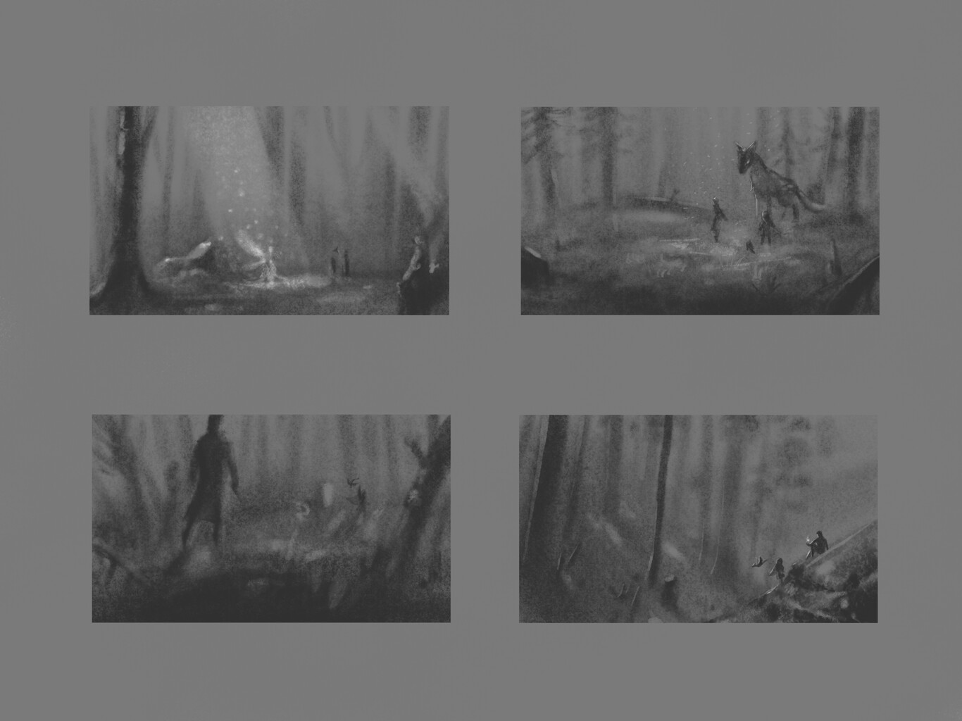 Quick sketches of the cousins traveling through the forest