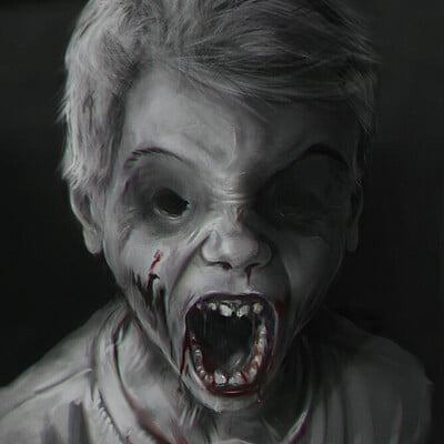 Key scenes produced for a horror theme storyboard - Speed painting + photobashing
