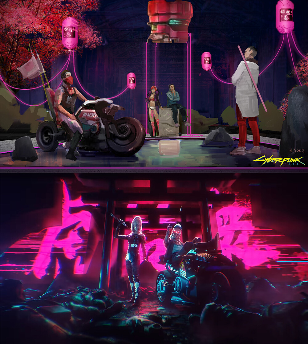 From my Key Frame Illustration to final music video shot comparison #4.