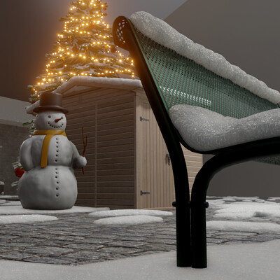 Dennis haupt 3dhaupt 02 winter christmas scene 2020 wip modeled textured and animated by 3dhaupt in blender 2 91 testing the new real snow addon 11