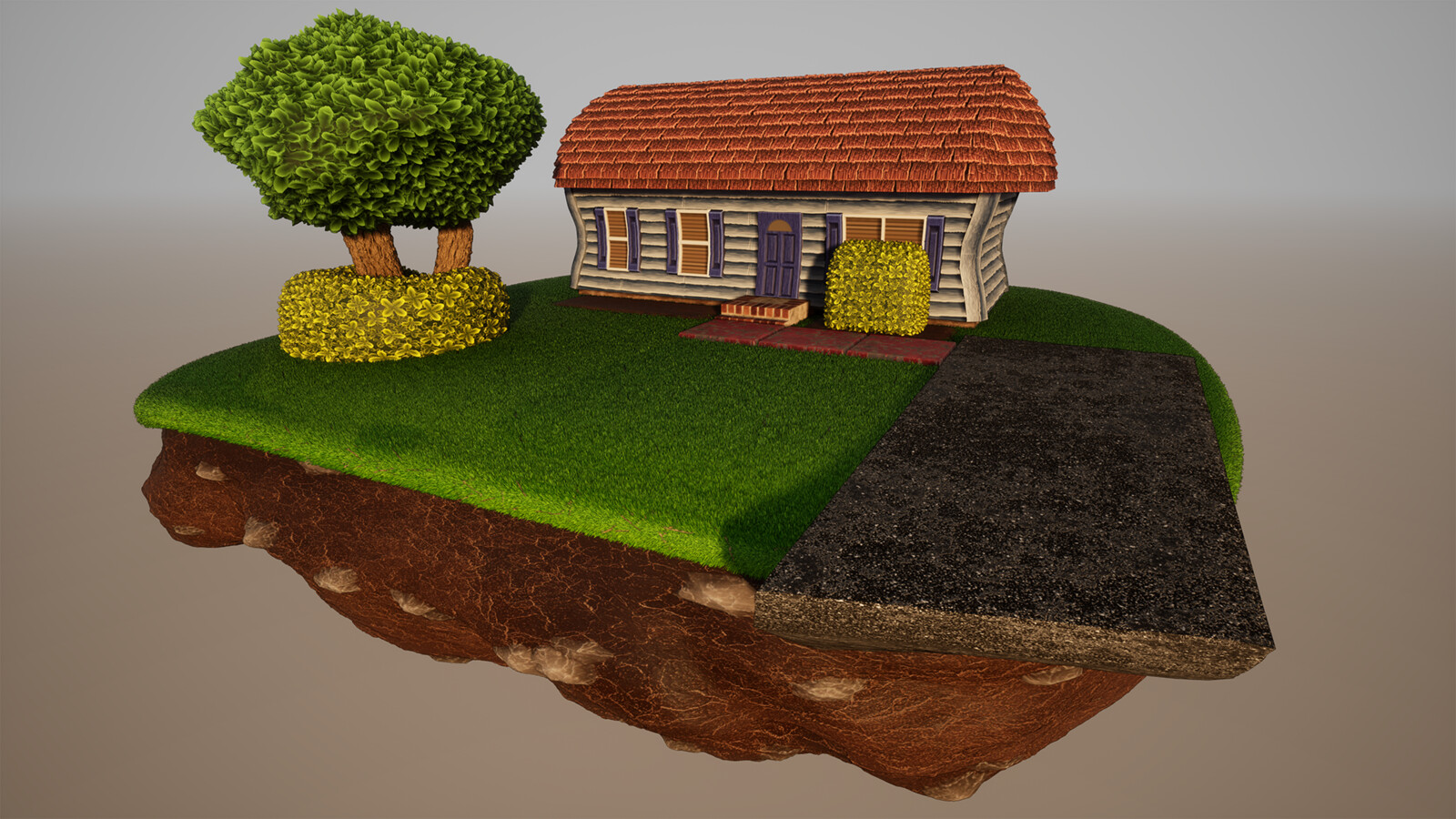 Overview Shot of the Full Diorama Rendered in Unreal Engine 4