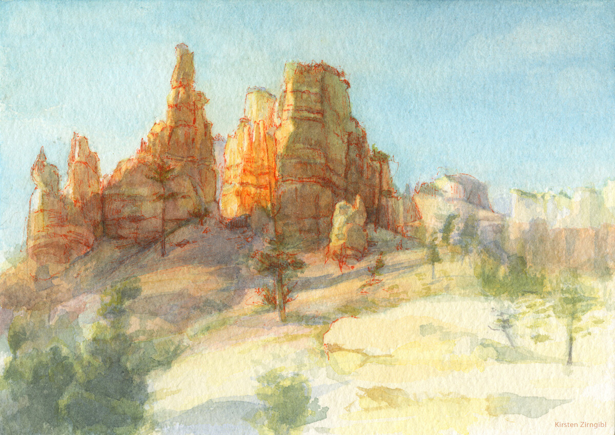 """Painted this little watercolor at Bryce Canyon National Park. This one was a race against the sun!  I had to focus on rock and then add foliage as the shadows changed. 5""""x7"""" Watercolor + micron pen.  2020"""