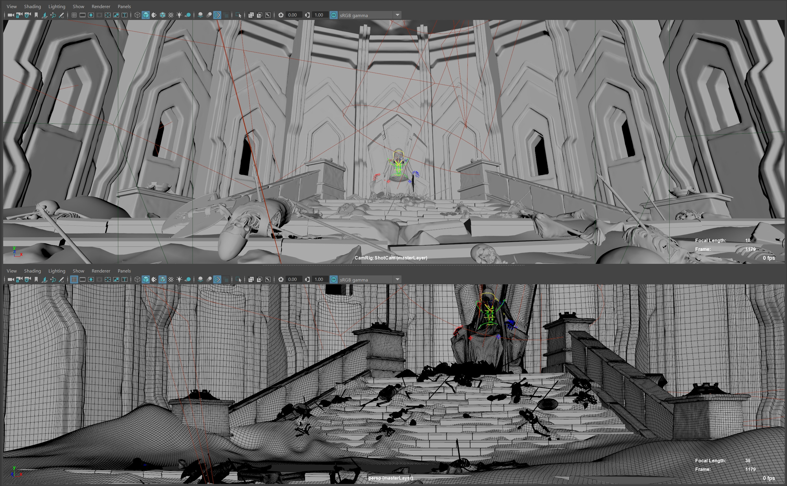 Maya viewports. Many assets were converted to Redshift Proxies and are not displayed.
