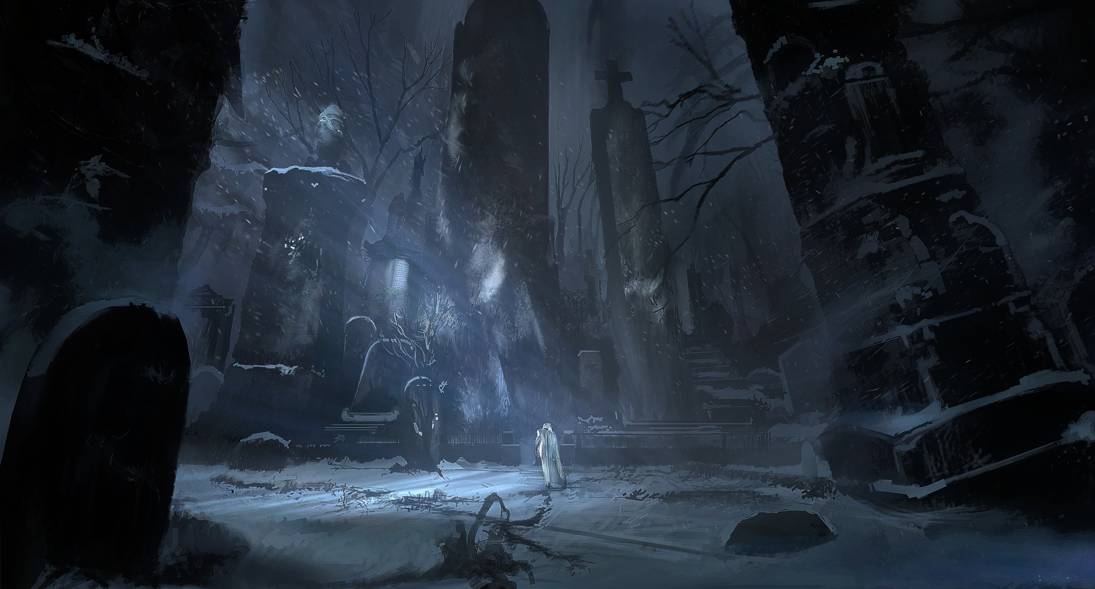 Graveyard concept painting for A Christmas Carol