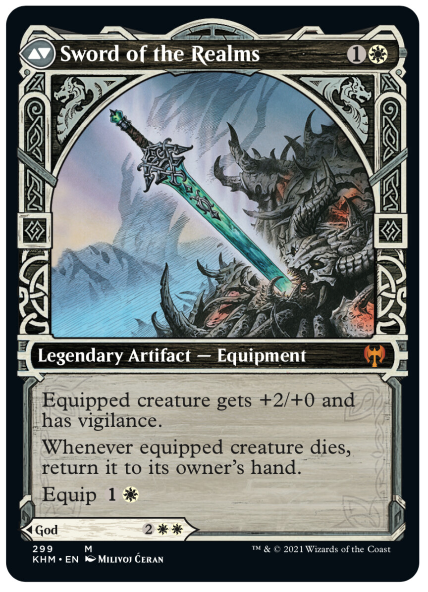 """""""Sword of the Realms"""" released mythic showcase card - © Wizards of the Coast - AD Tom Jenkot - Magic the Gathering, """"Kaldheim"""", release Feb 2021"""