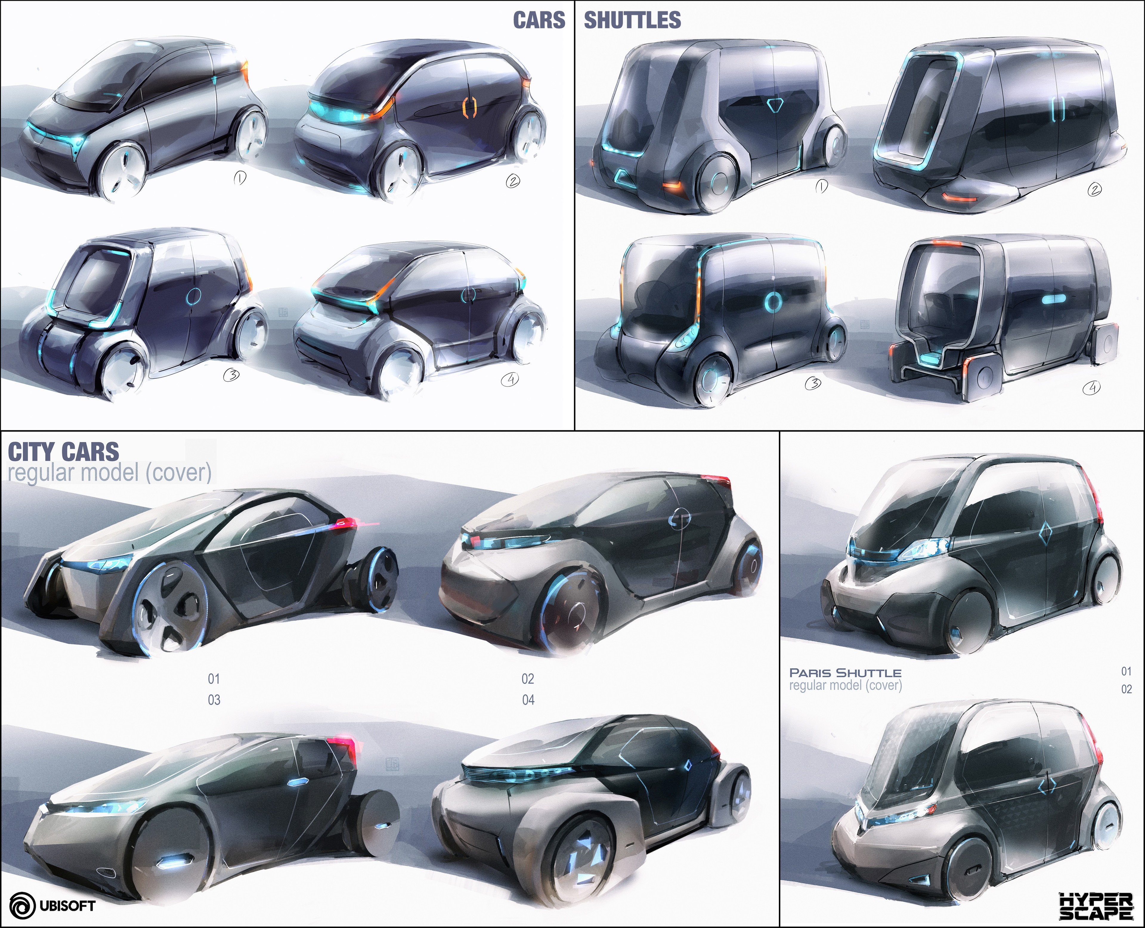 I didn't have much time to re-design the cars (which are basically fancy covers). They needed to have a very contemporary/sci-fi generic look for repetition and budget reasons...