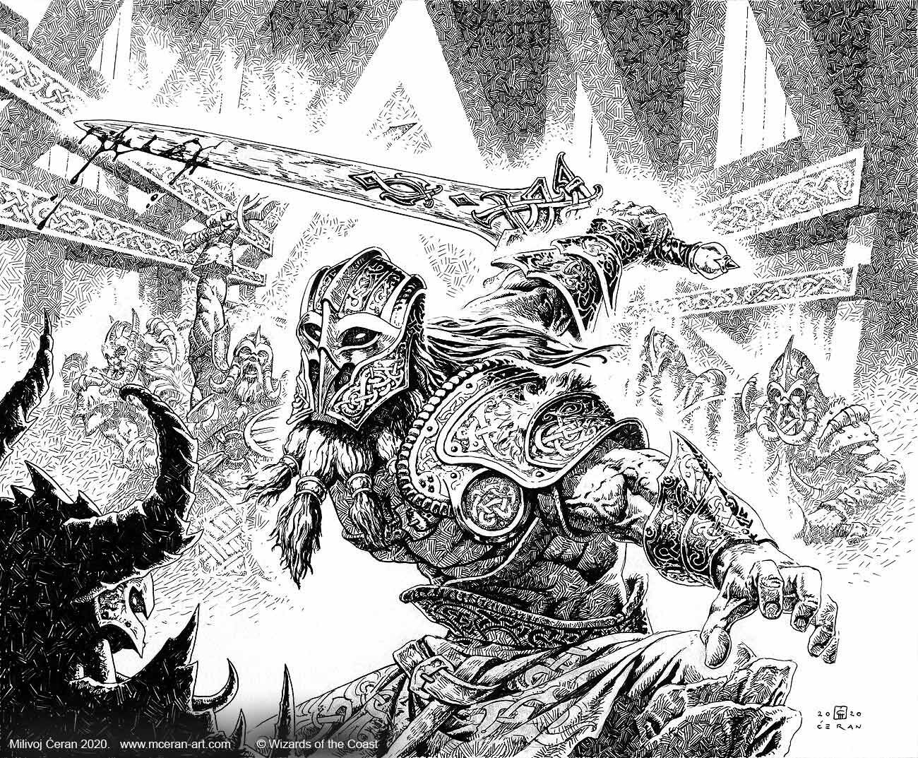 "- ""Halvar, God of Battle, "" Milivoj Ćeran 2020., original artwork - 33x40 cm (13 x 15,7 inches) - archival ink on paper (Fabriano 5, 300 gsm) - © Wizards of the Coast - AD Tom Jenkot - ""Kaldheim"" set"