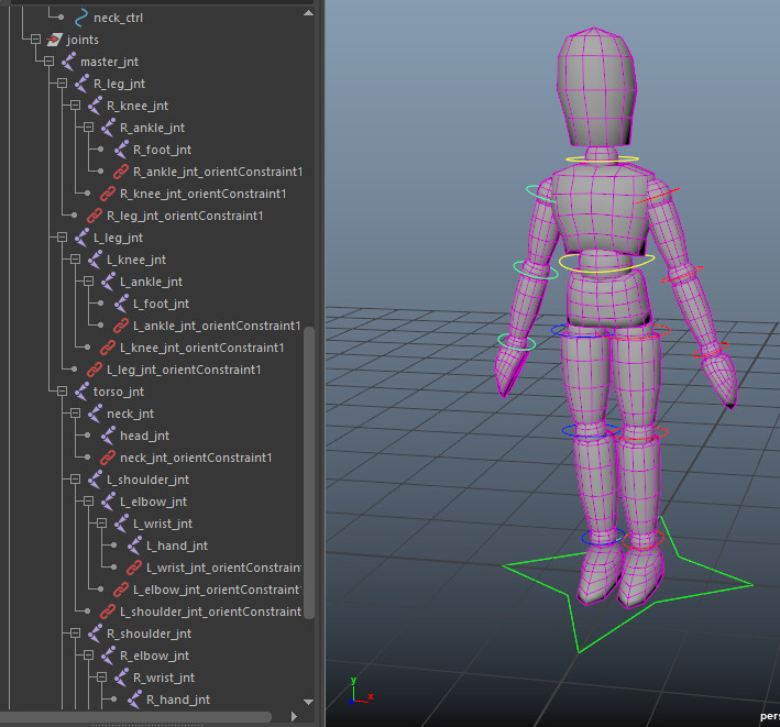 Mannequin rig for posing and animation