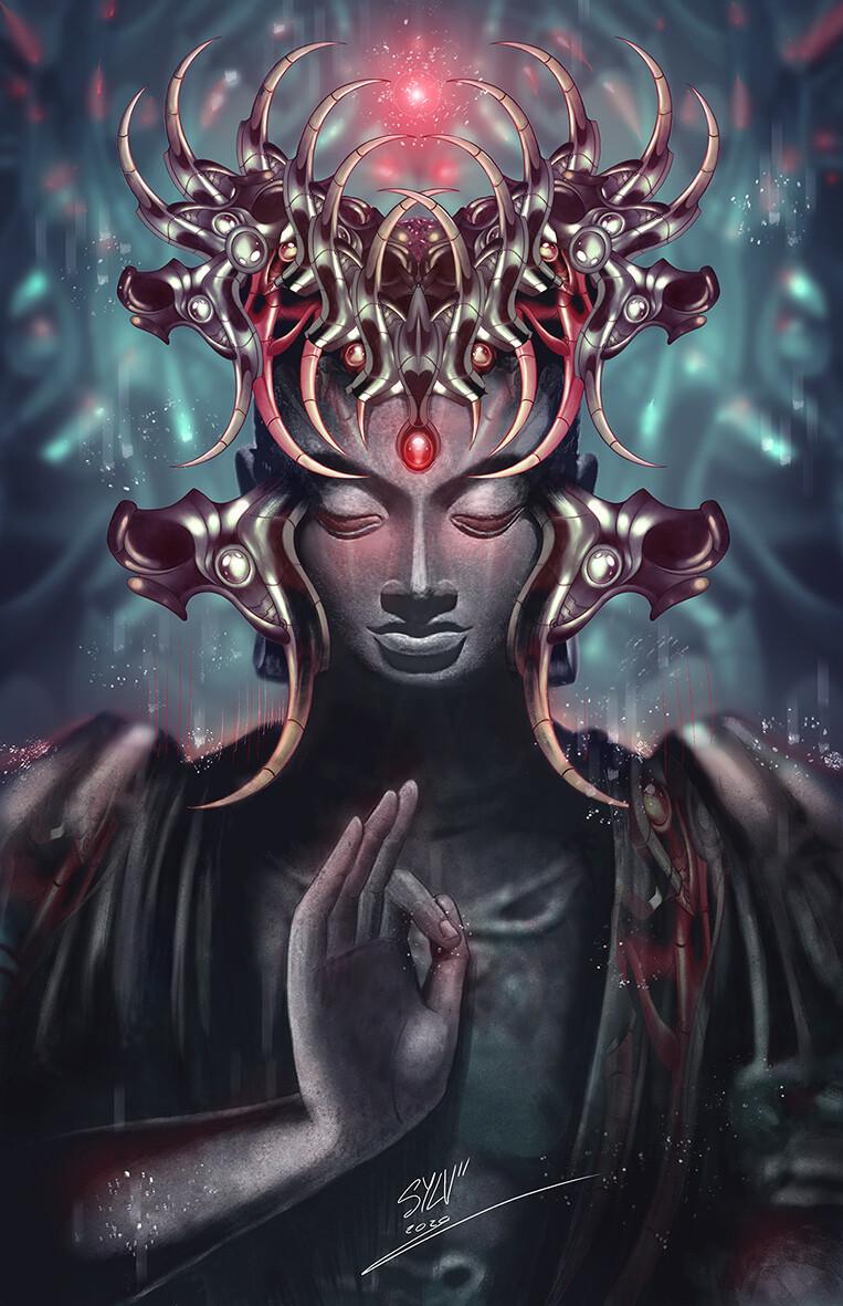 Psychedelic bio mecha buddha