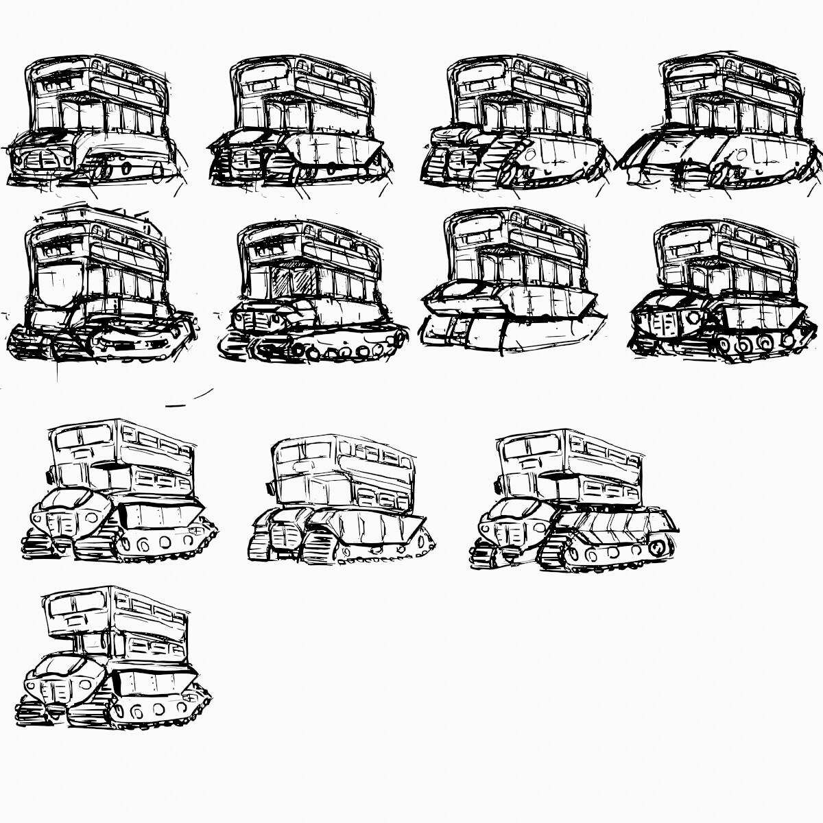 Bus tank sketches building up to final design.
