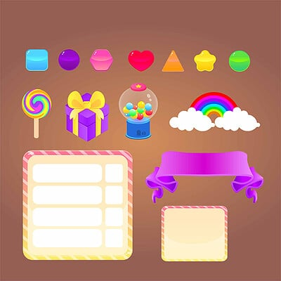 Olga levina candy world game asset sweets juisy colorful cartoon sweet candy lollipop vector design preview