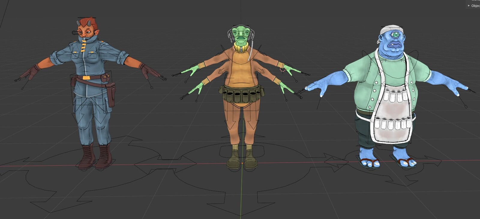 The three bridge  characters with riggify controls.