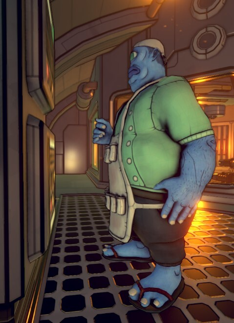 The scientist is a huge character, especially in the first person. He has a rounded design that minimizes the intimidation factor, though he is truly a hulking form in the environment.