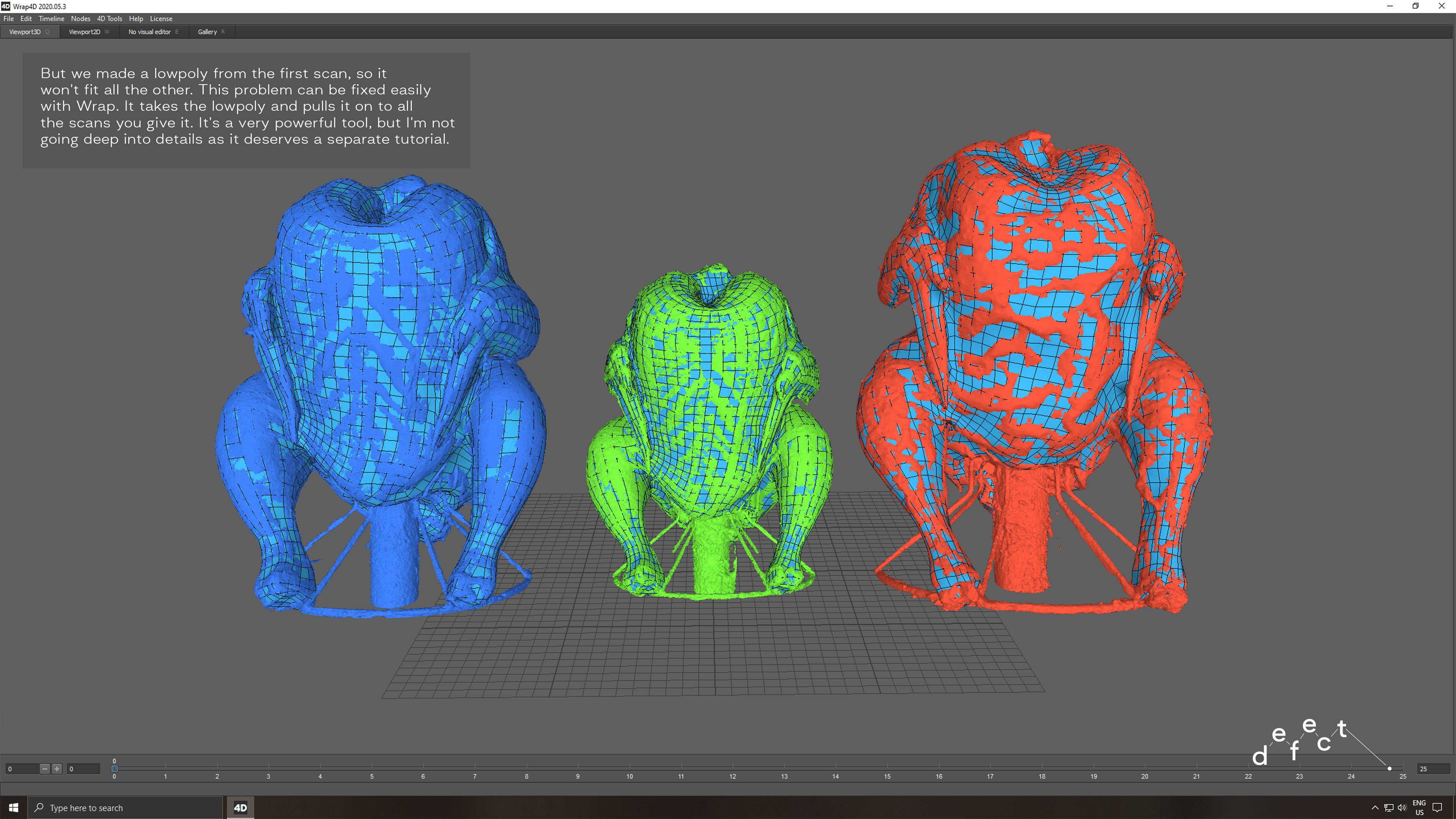 Scans and lowpoly after wrapping process