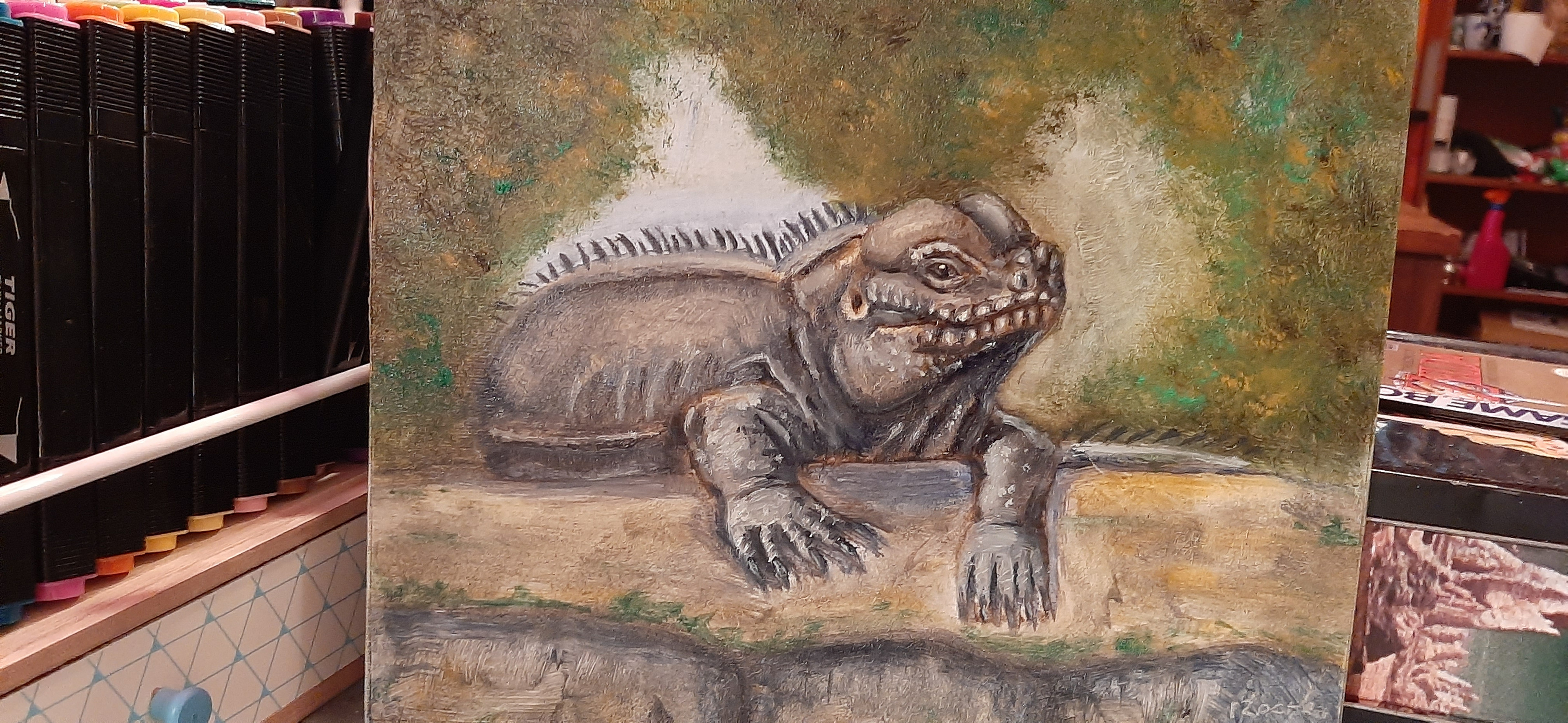 """Rhino Iguana"" Oils on canvas board ©2020"