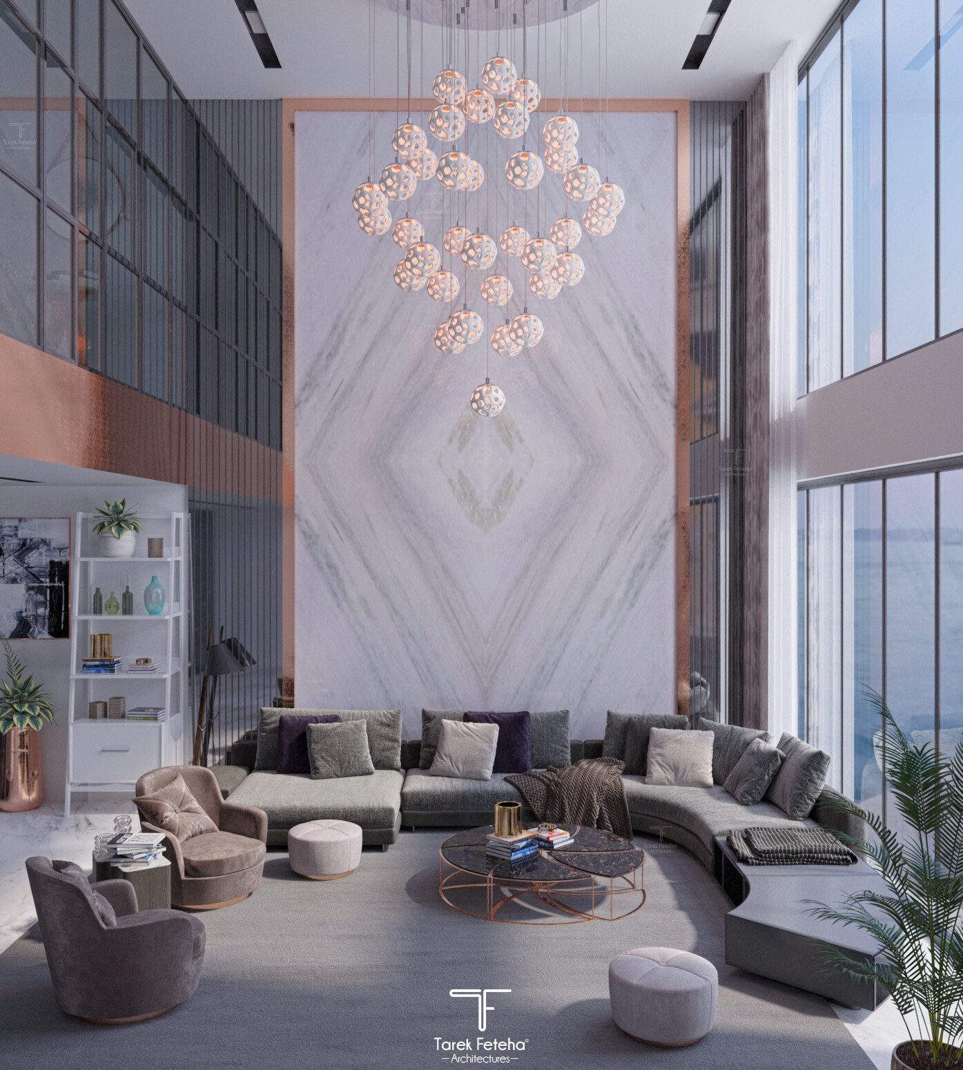 Double Height Luxurious Living Room, Living Room Luxury