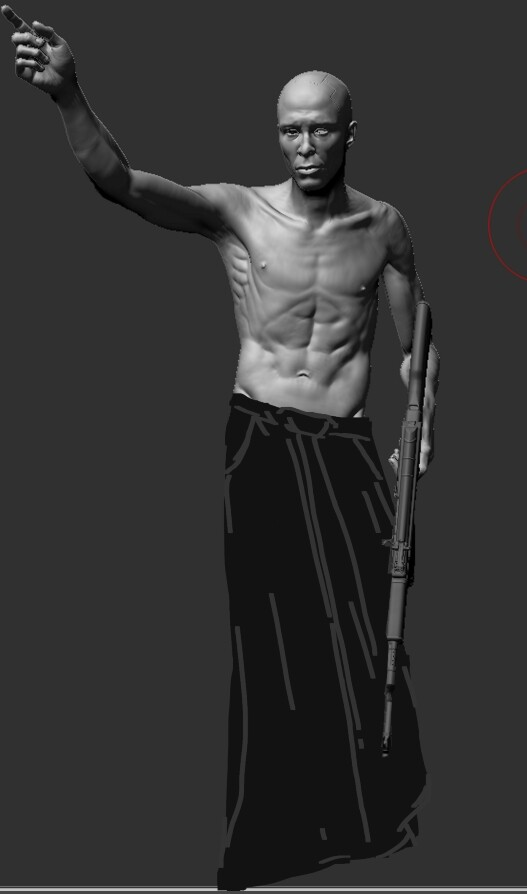 Quickly overpainting main character's garment