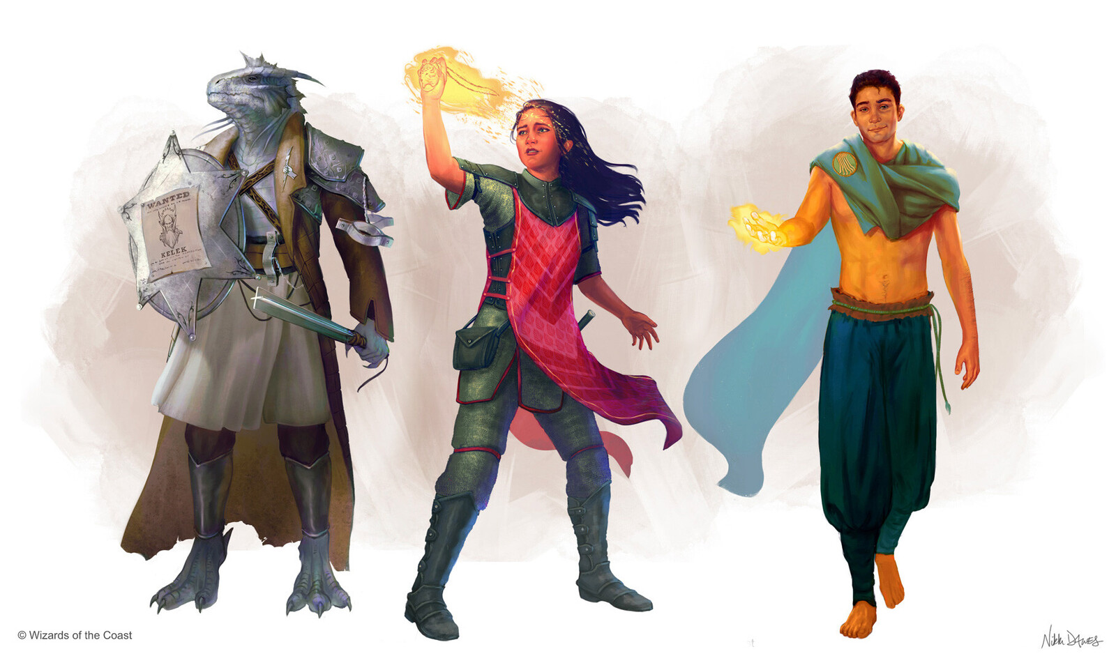 Clerics: Dragonborn Cleric of Order, Human Cleric casting Harness Divine Power, and Human Cleric of Peace