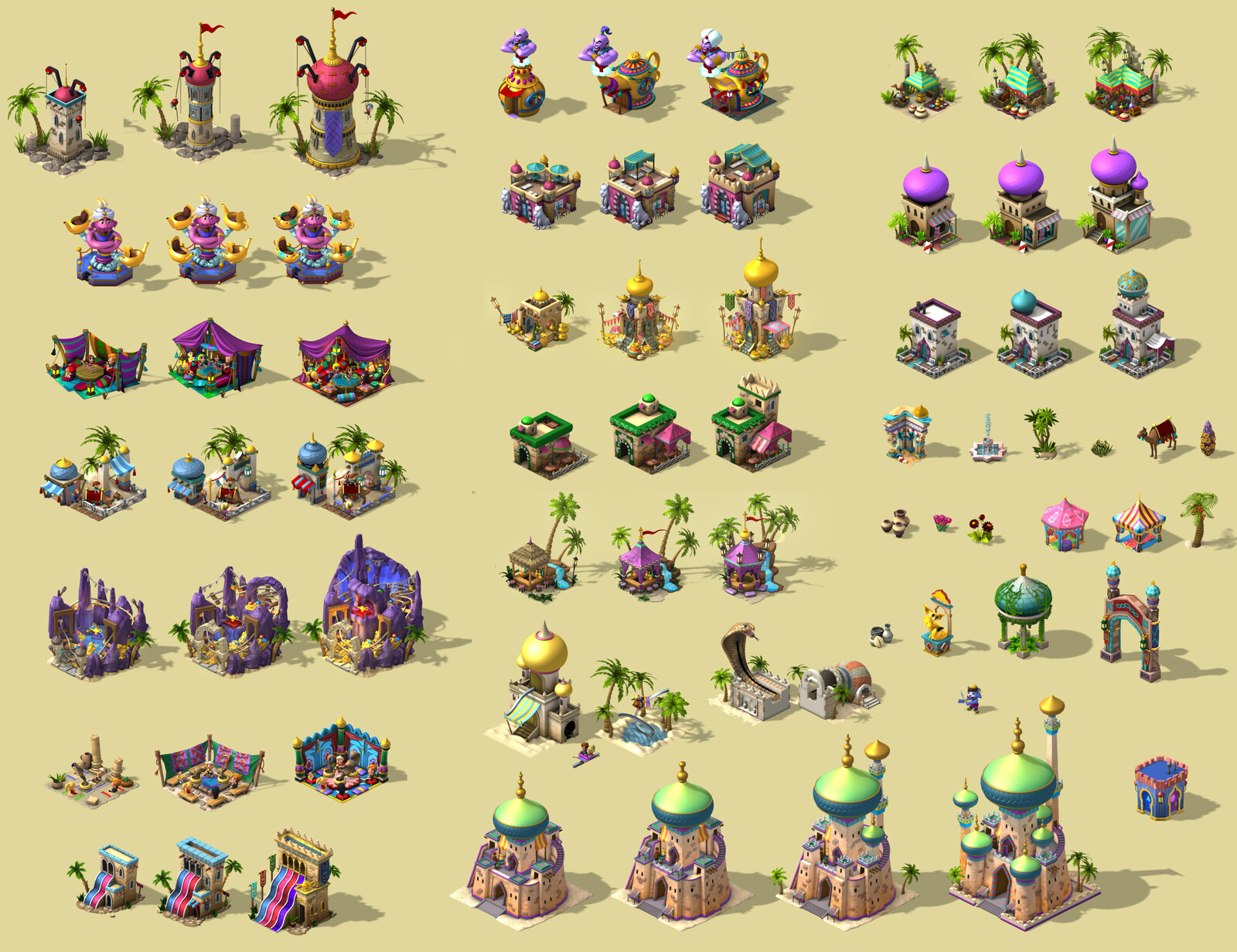 Arabia themed land tile set by various artist at Zynga