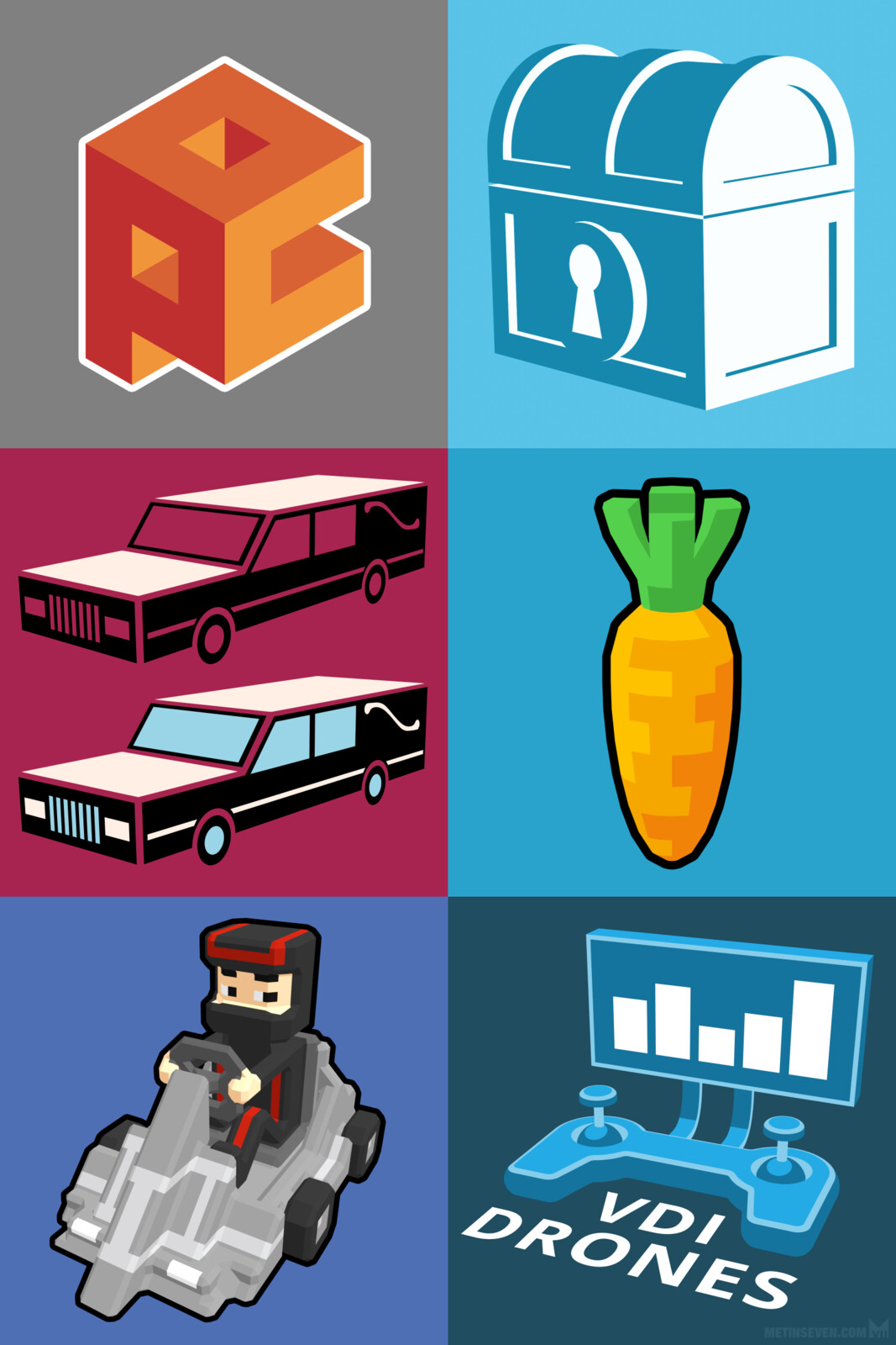 Various icons and logo designs, rendered in graphic / stylized 3D