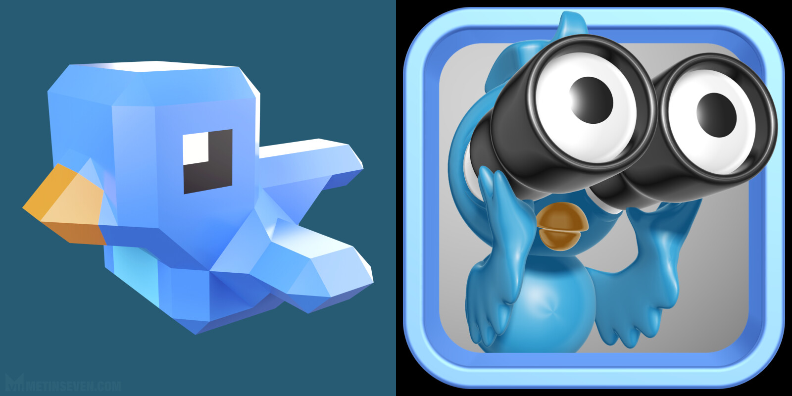 Twitter bird app icon designs in different 3D styles