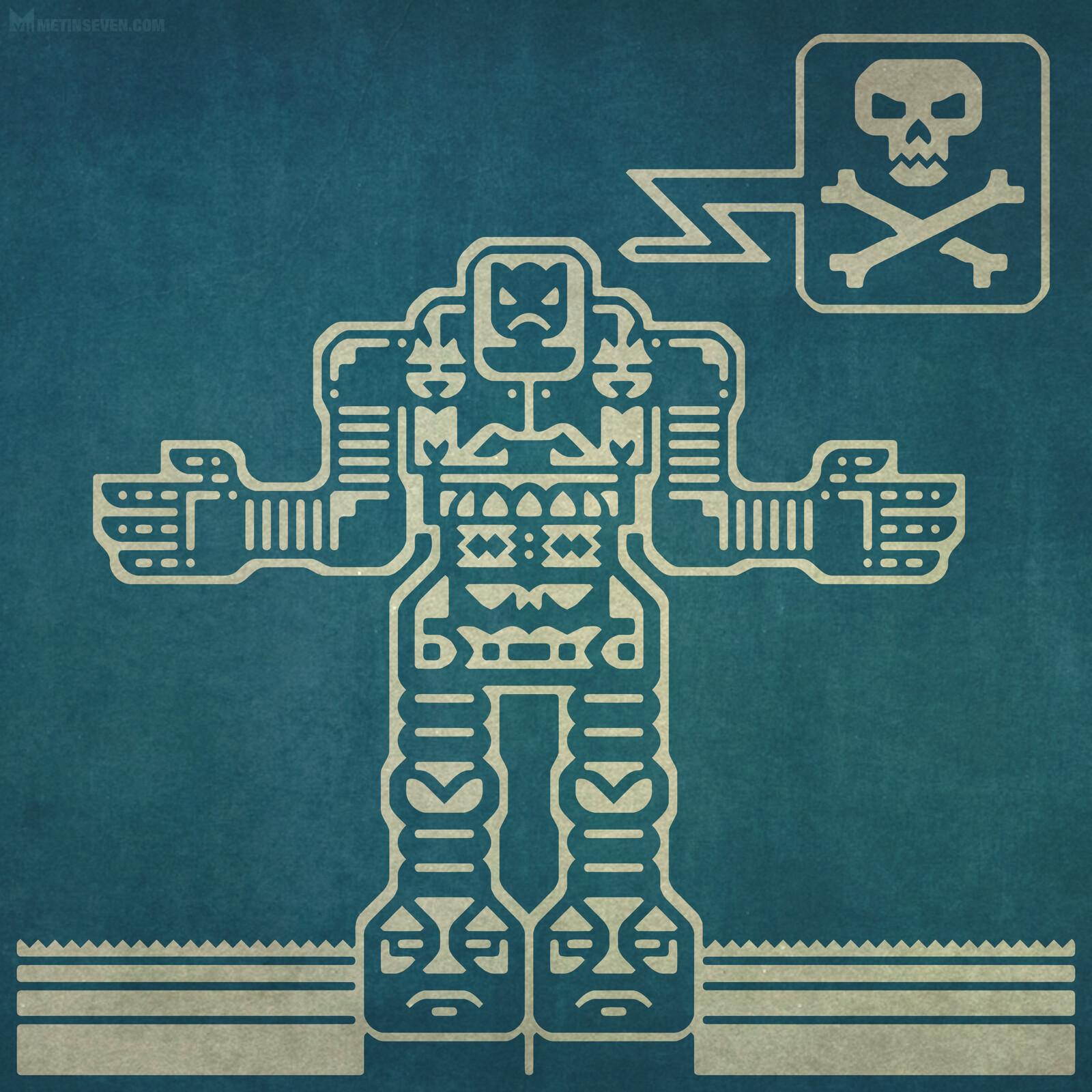 Cartoony vector character design of a mech robot