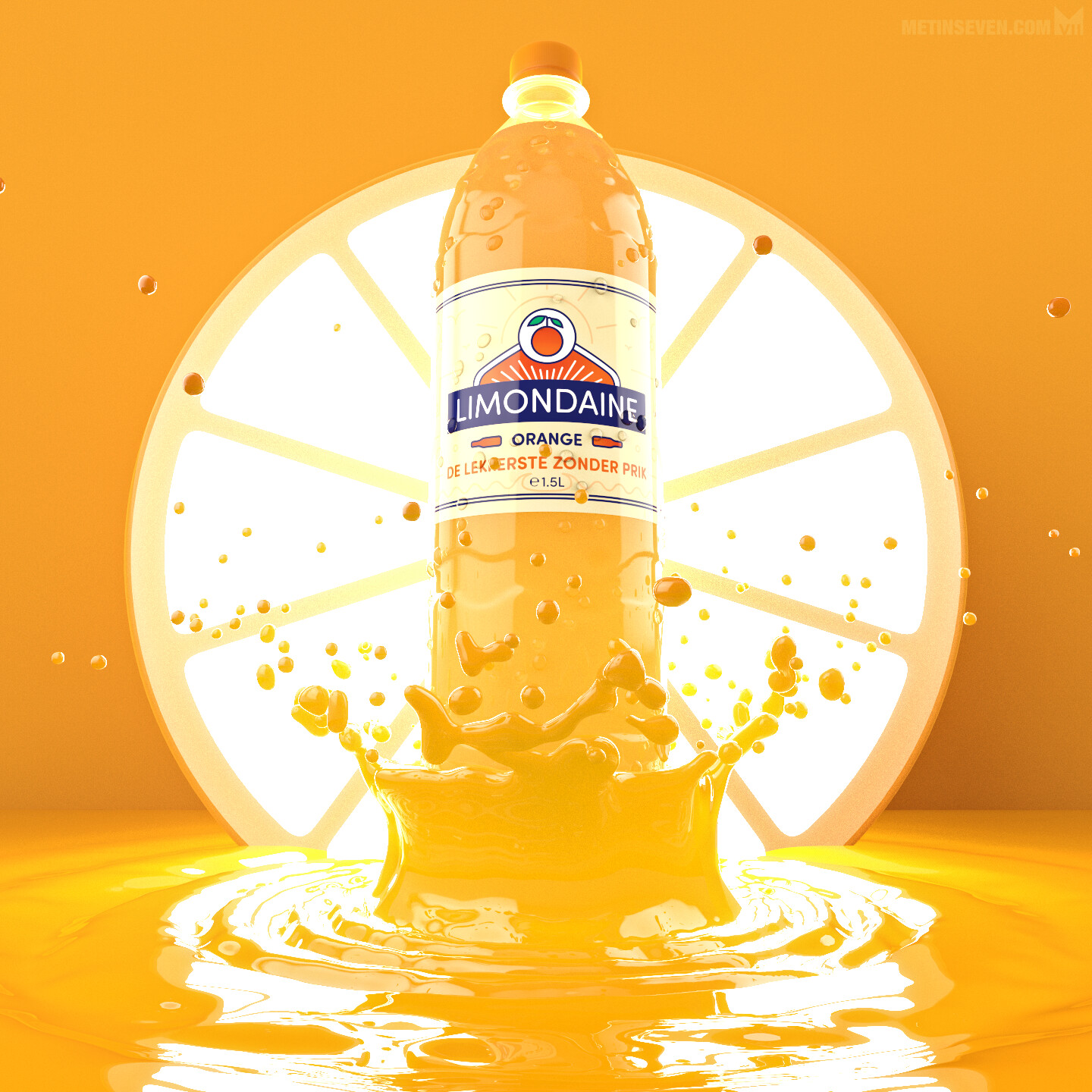3D presentation concept for a Limondaine soft drink promotion campaign