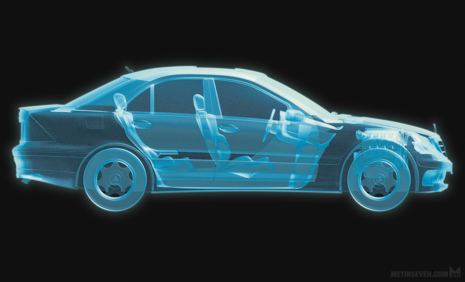 X-ray style automobile section for Mercedes-Benz magazine
