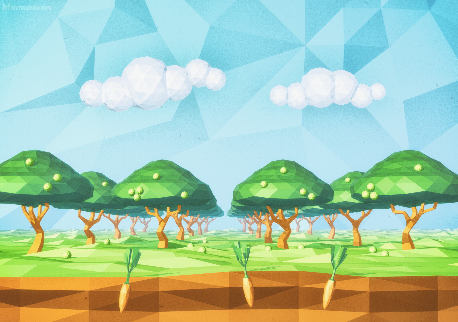 Low-polygon orchard