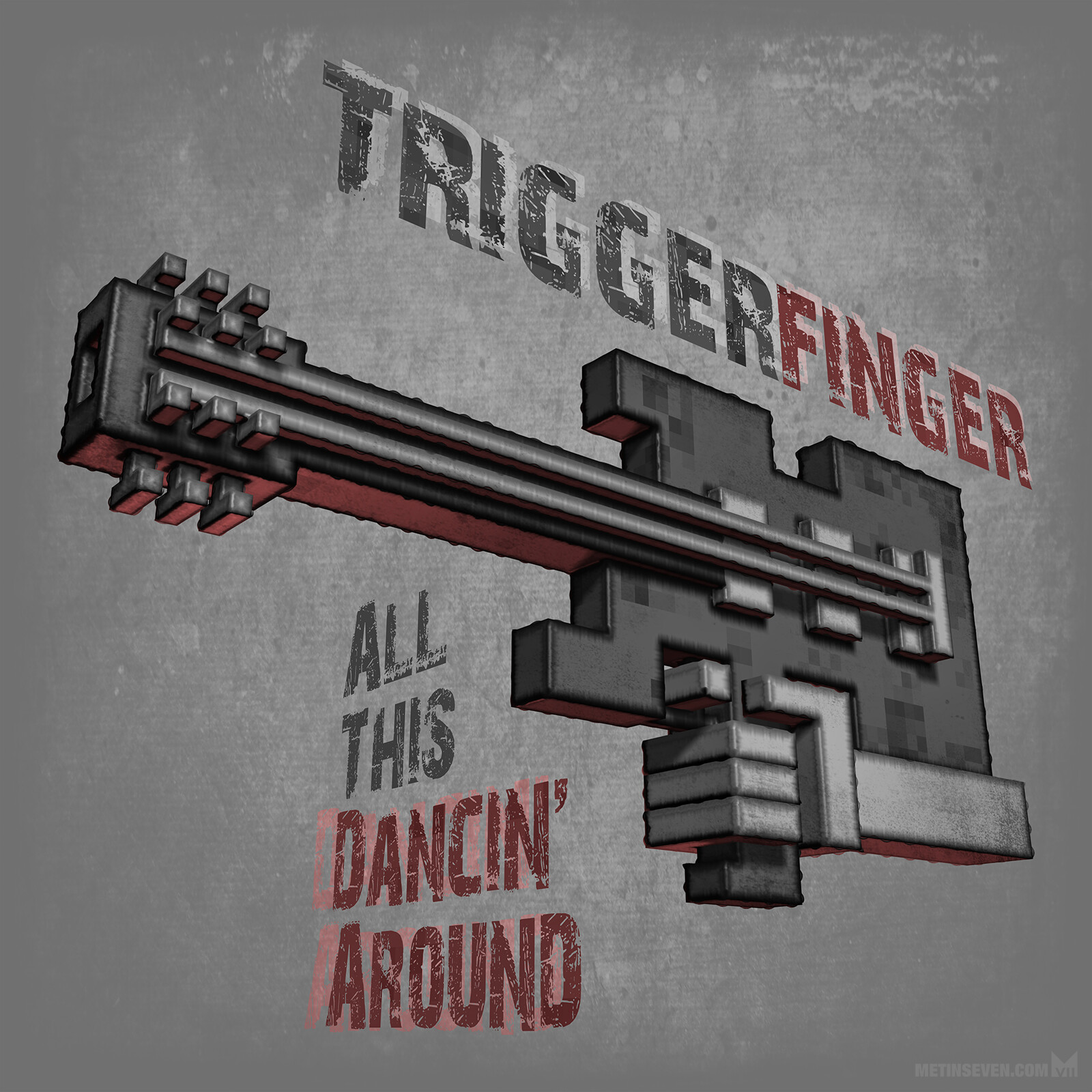 Voxel-style cover artwork concept for a Triggerfinger music album