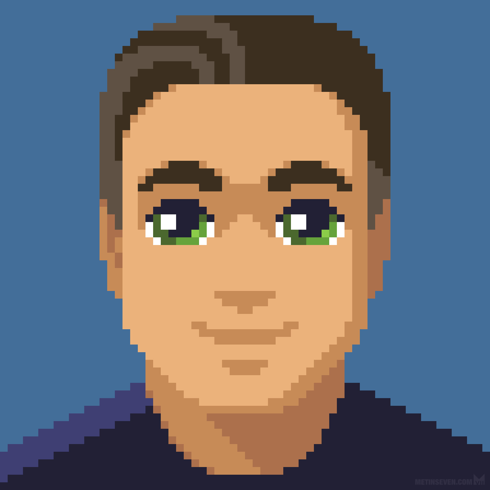 Low-resolution 8-bit pixel art self-portrait