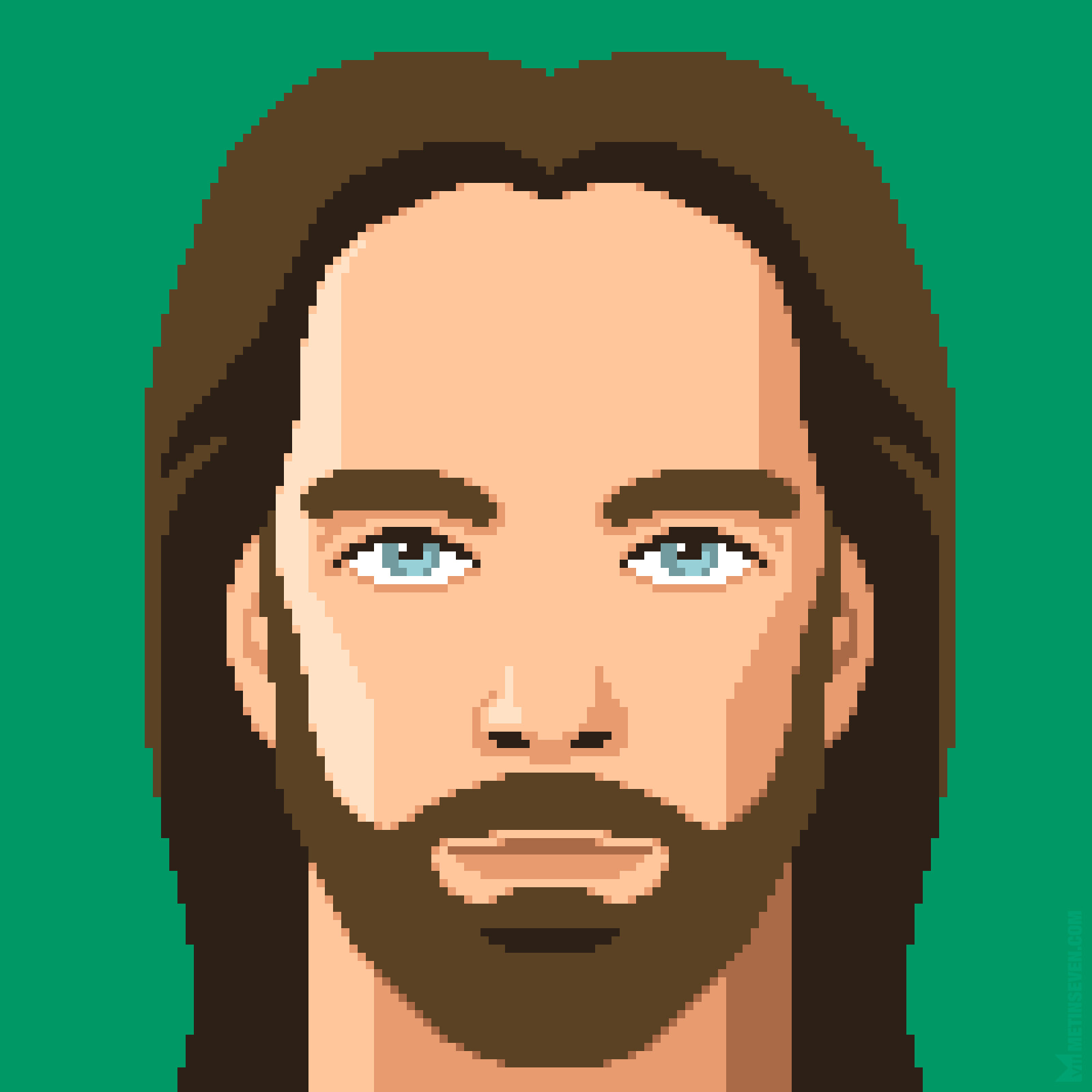 16-bit game graphics style pixel art portrait of retro gamer Billy Mitchell