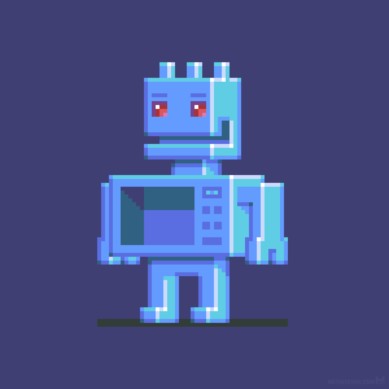 Orthographic side-view robot character sprite design