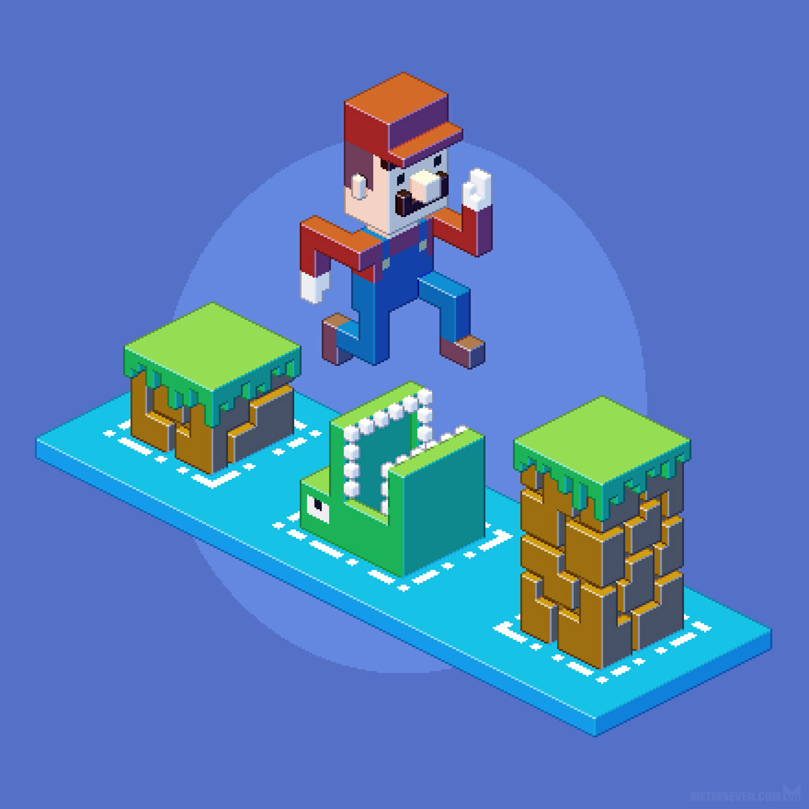 Isometric pixel illustration featuring Mario