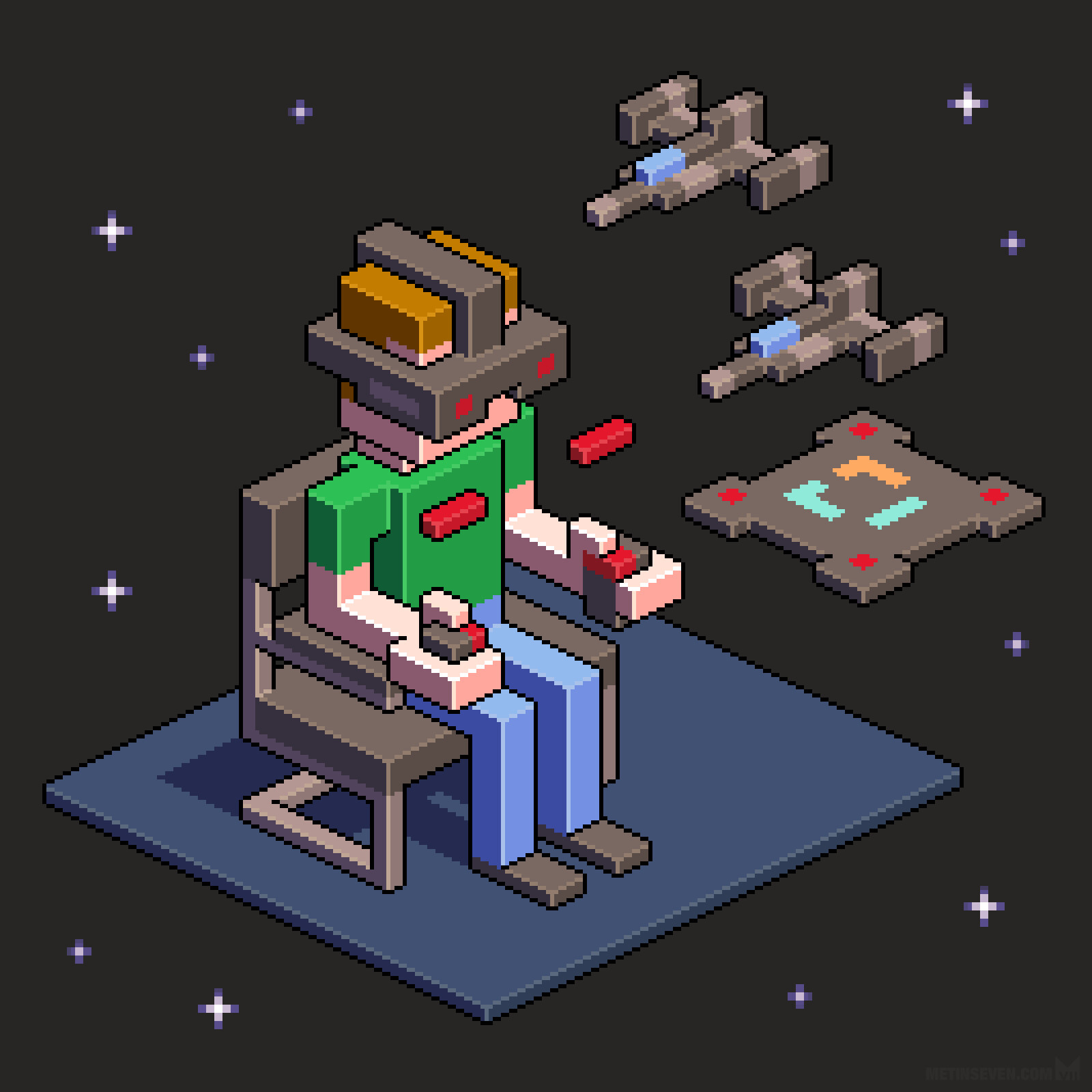 Isometric pixel illustration about virtual reality, for an EclecticIQ sticker series